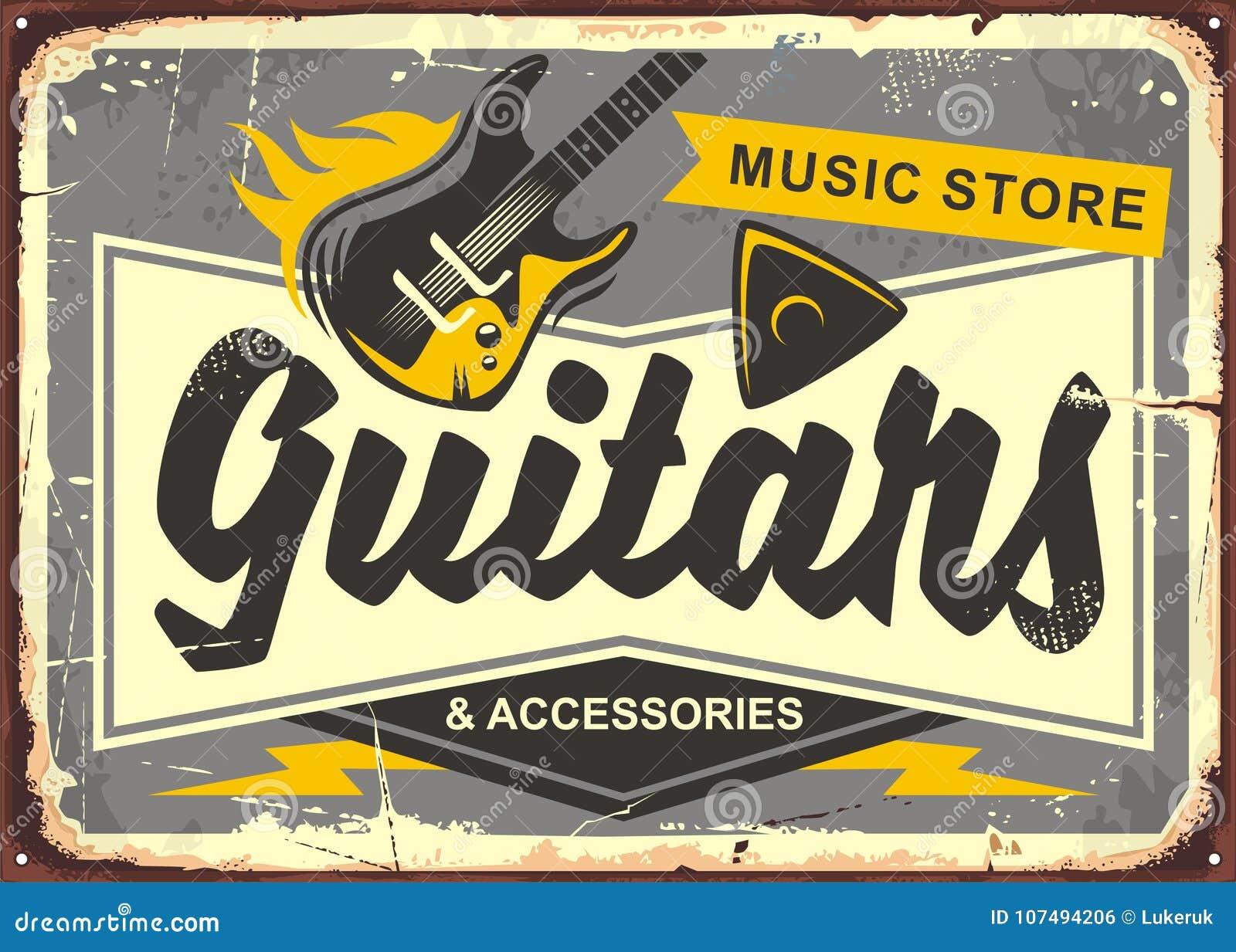 Retro reclame van de gitaaropslag