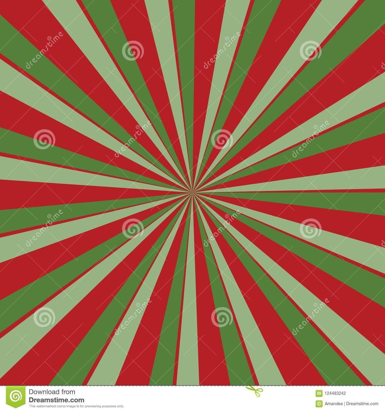 download retro red and green sunburst background in christmas colors with radial striped pattern stock vector - Why Are Red And Green Christmas Colors