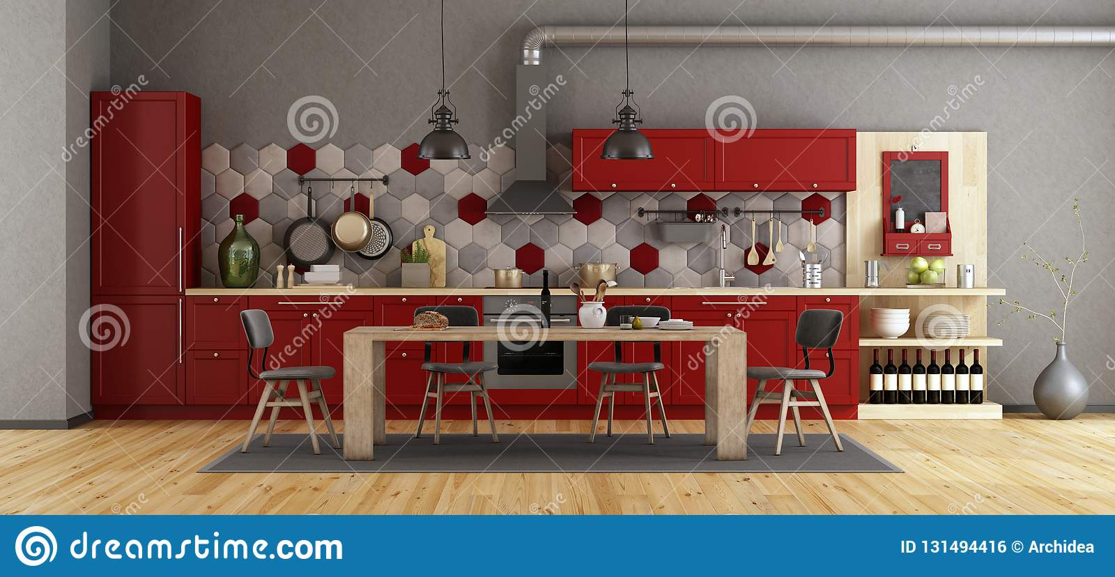 Retro red kitchen with wooden dining table and chairs - 3d rendering & Retro Red Kitchen With Wooden Dining Table Stock Illustration ...