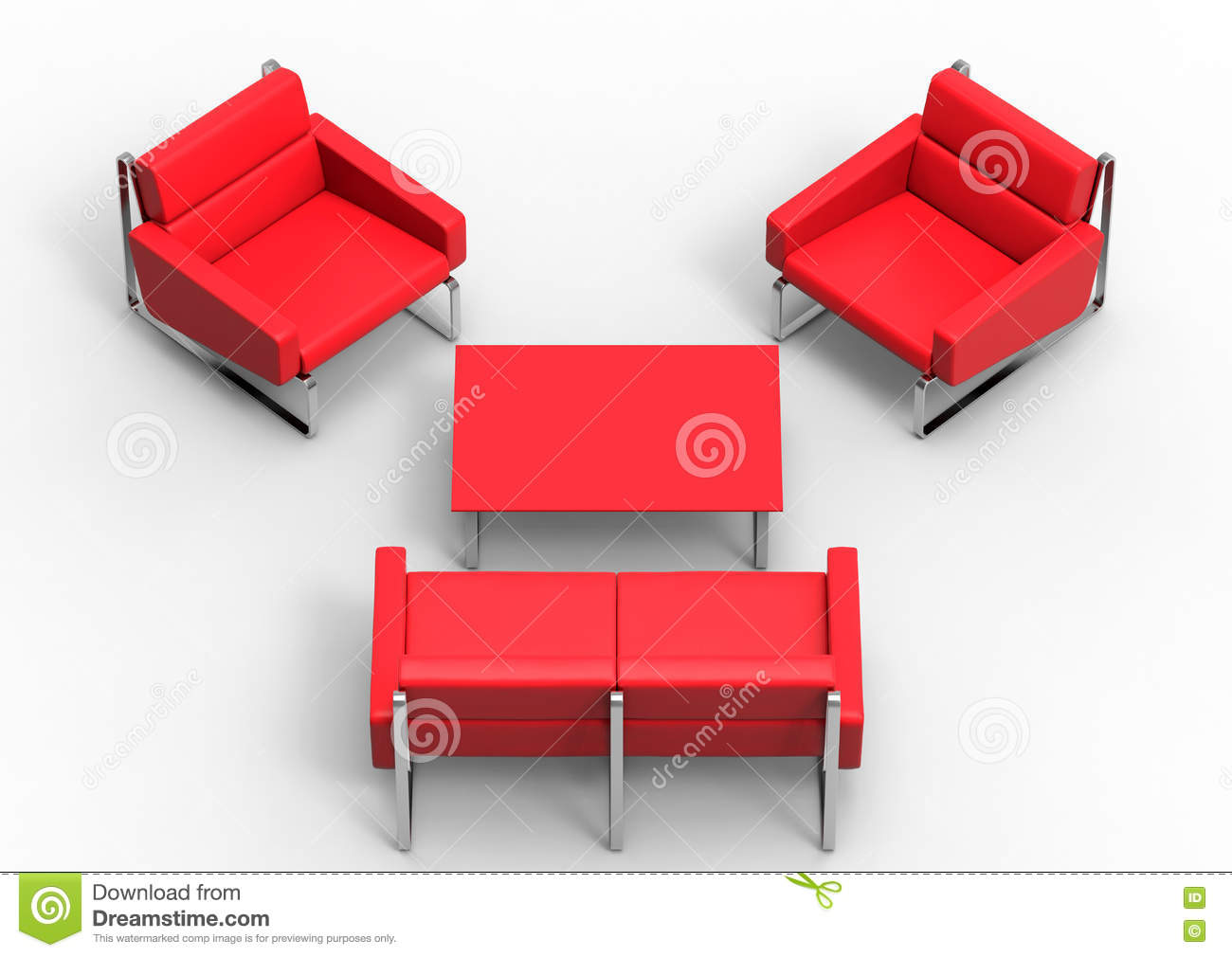 Retro Red Living Room Furniture Stock Illustration
