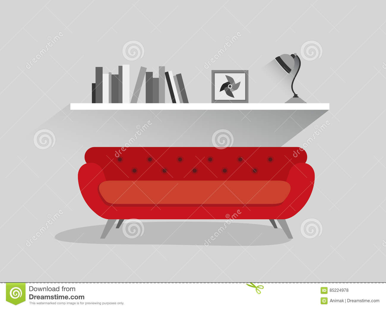 Retro Red Sofa And Book Shelf With Lamp