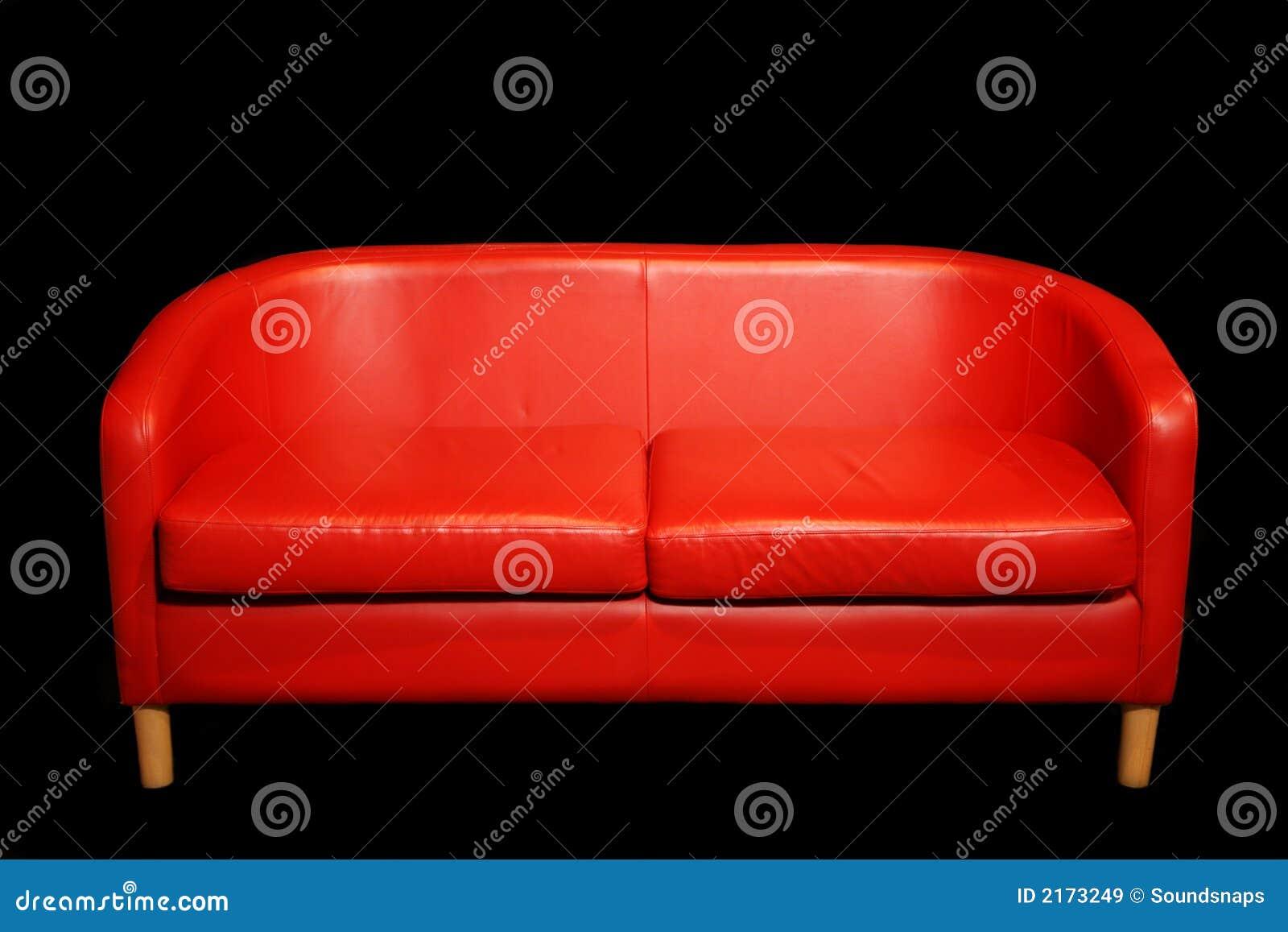 Retro Red Sofa In Dark Room Stock Image - Image of look ...