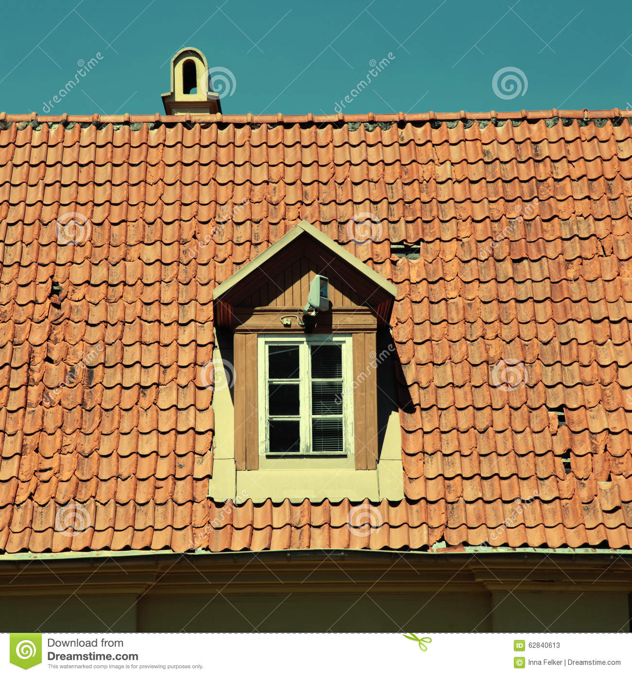 Retro red tile roof of old house stock photo image 62840613 - Houses with ceramic tile roofing ...
