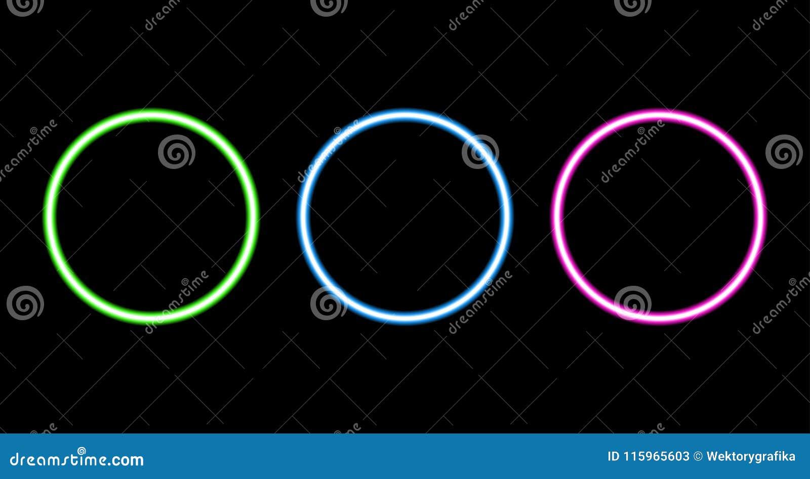 Retro reeks van de neoncirkel op zwarte achtergrond wordt geïsoleerd die