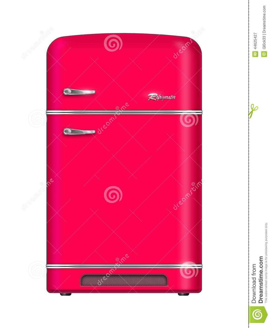 Red retro refrigerator - isolated on white background .