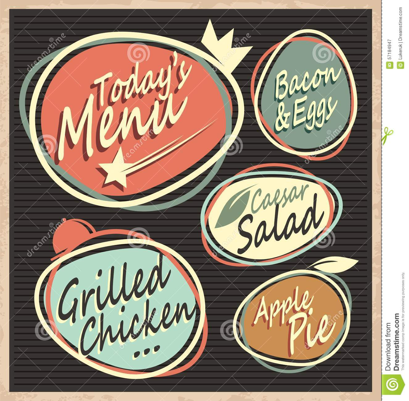 Retro Restaurant Menu Template Stock Vector - Illustration of menu ...