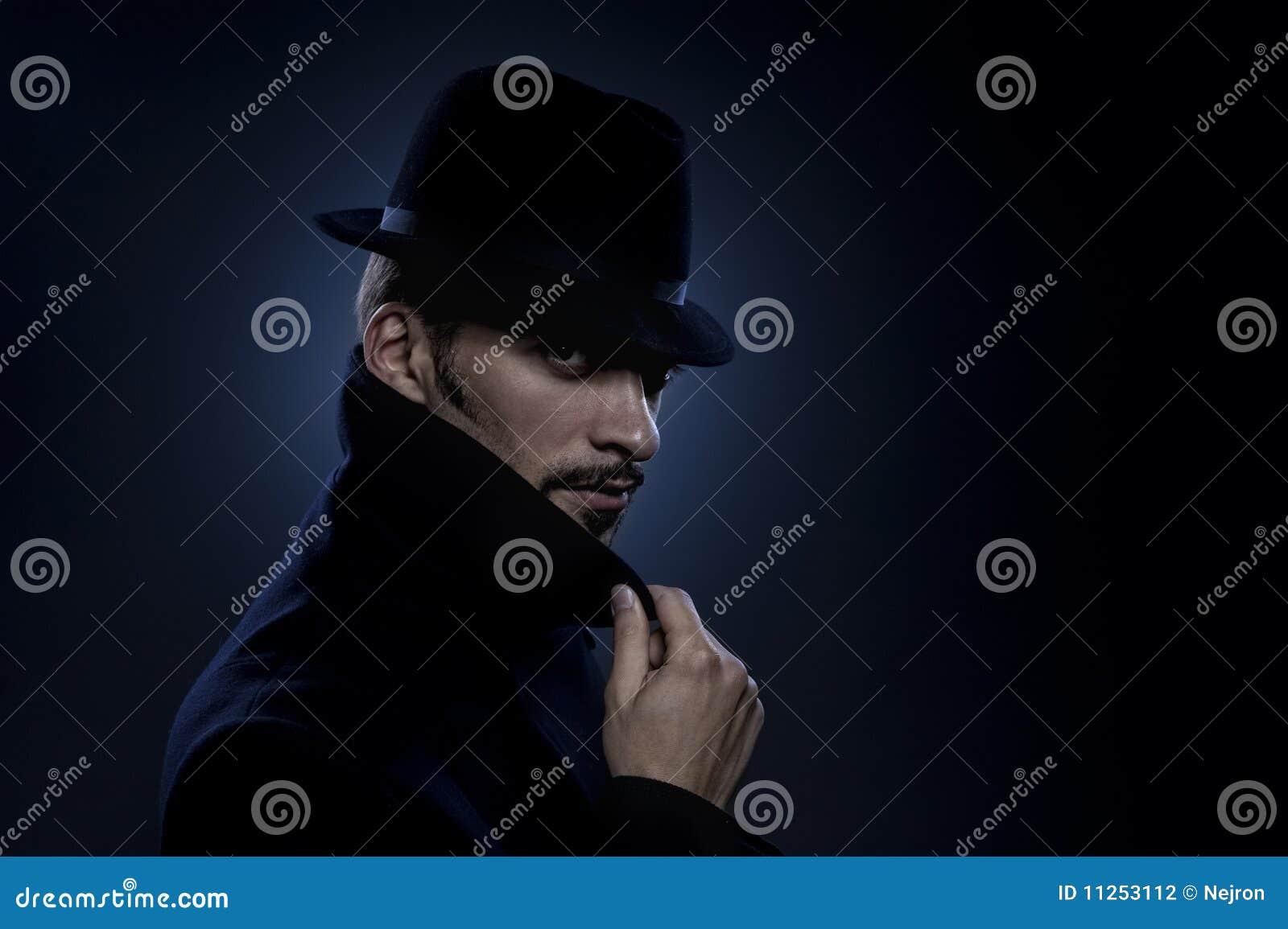 Retro Ritratto Dell'uomo Misterioso Fotografia Stock