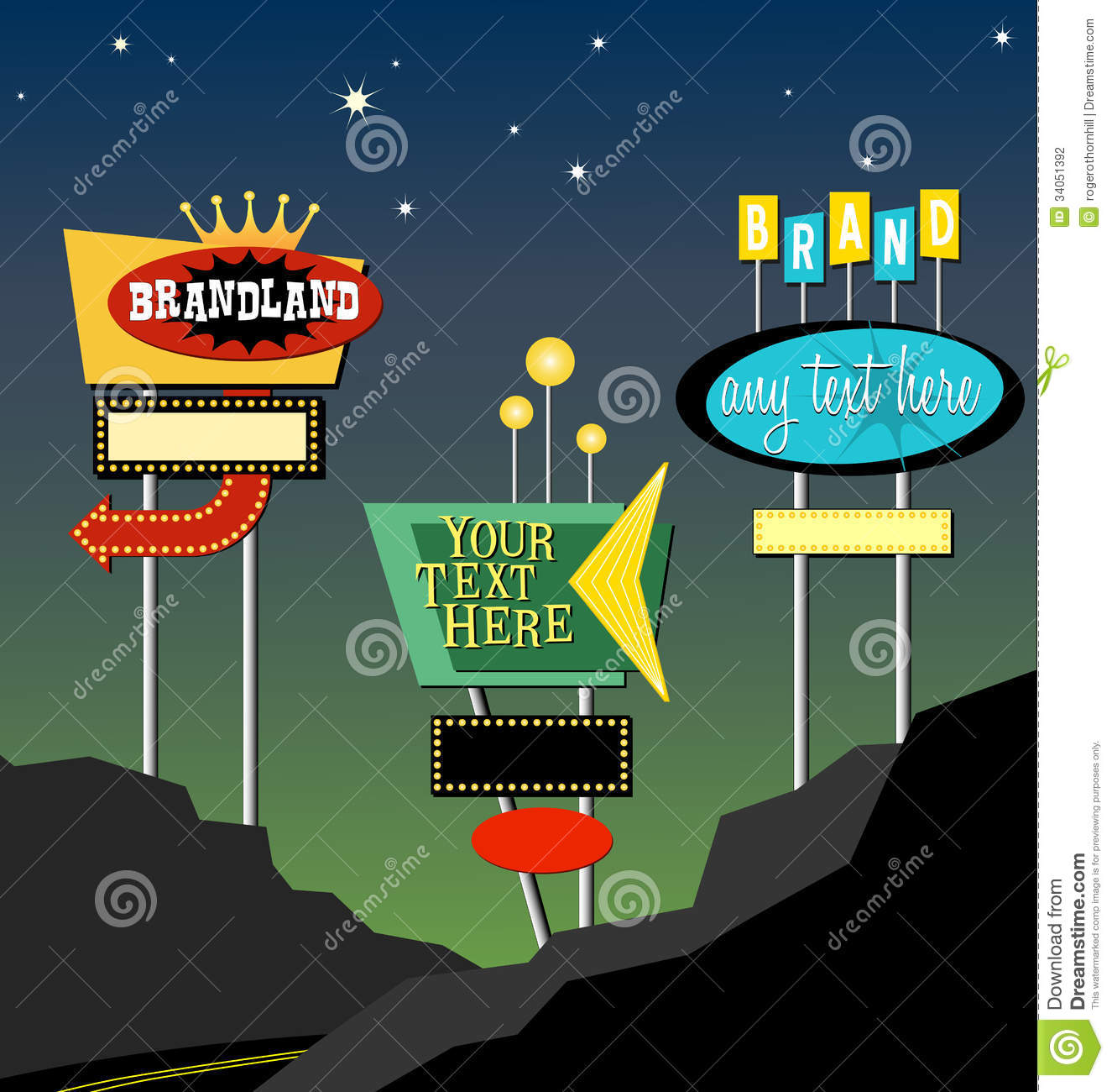 retro roadside signs cartoon vector. Black Bedroom Furniture Sets. Home Design Ideas