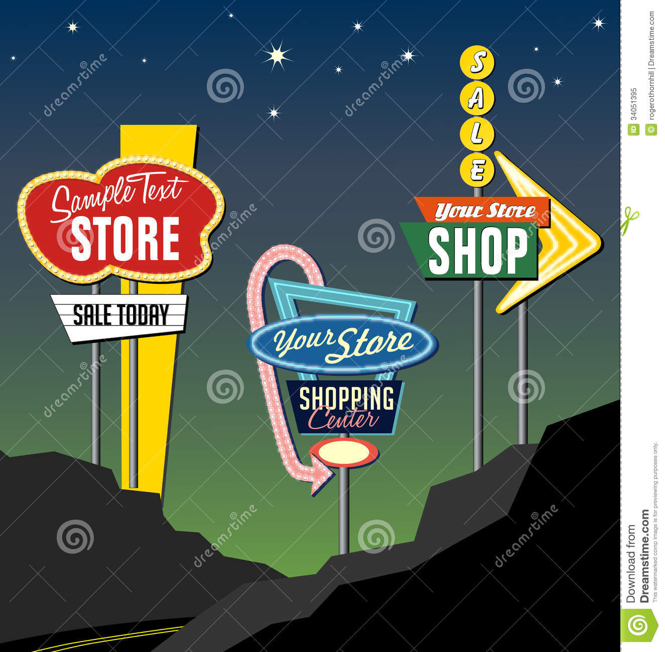 Retro Roadside Neon Signs 2 Royalty Free Stock Photo ...