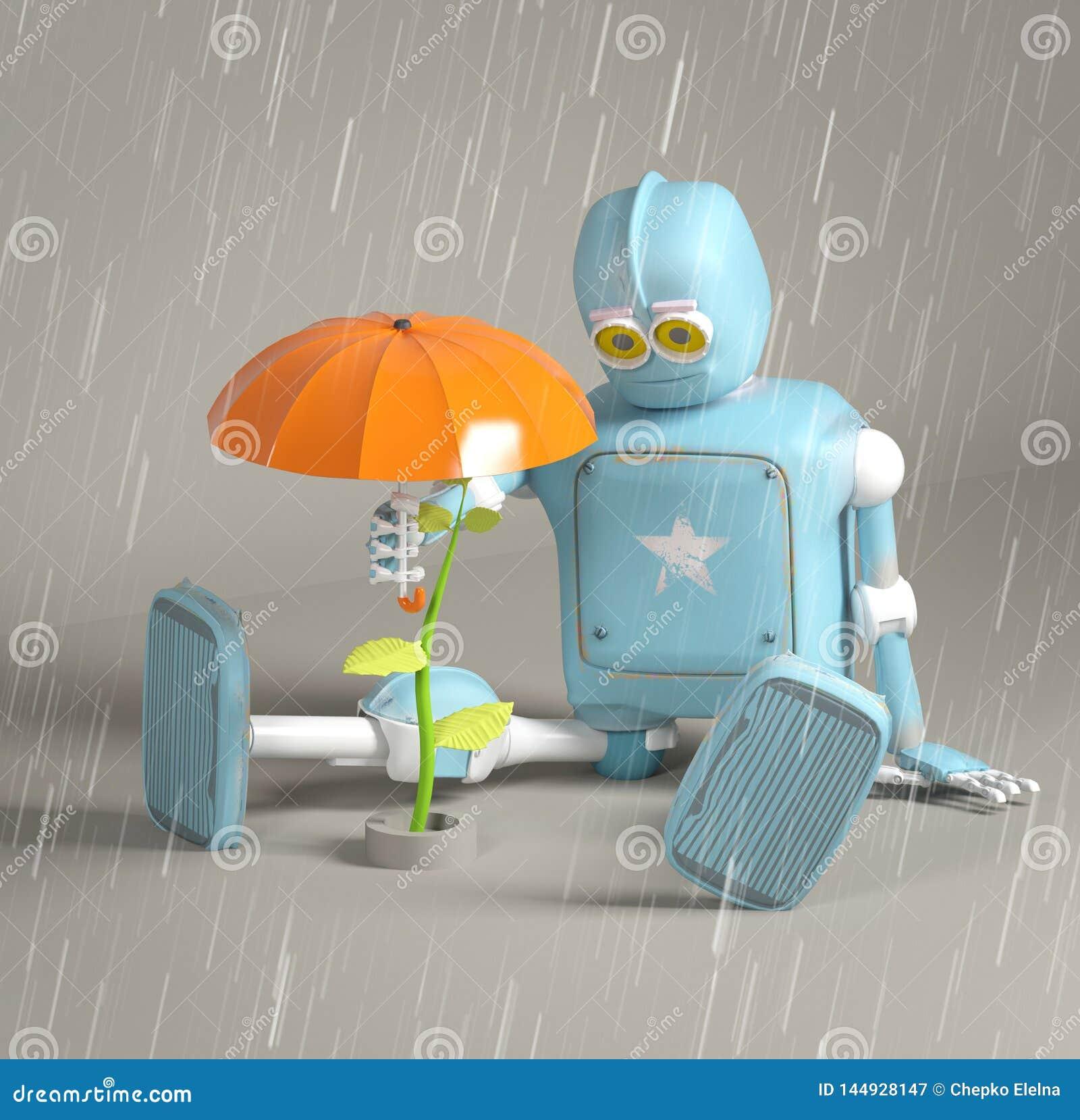 Retro robot beschermt spruit, 3d installatie, teruggeeft