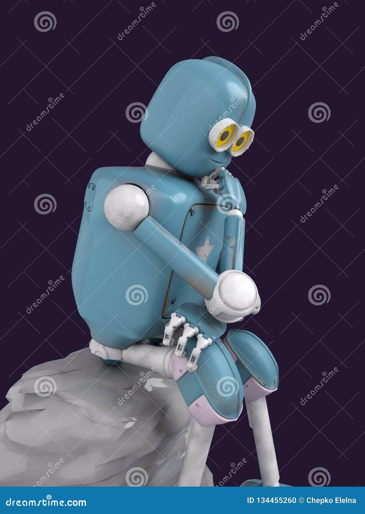 Retro robot denkt zitting op de steen, kunstmatige intelligentie, ai