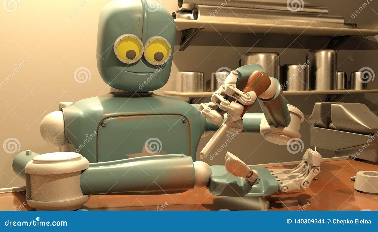 Retro robot herstelt zijn hand, het 3d teruggeven