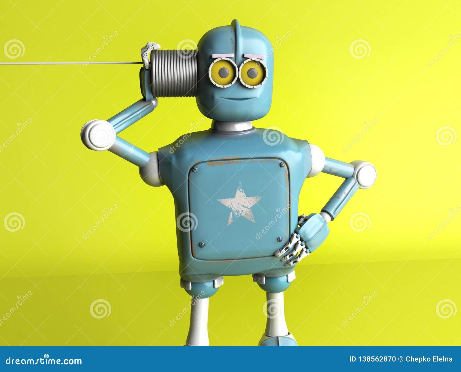 Retro robot med Tin Can Phones 3d framför