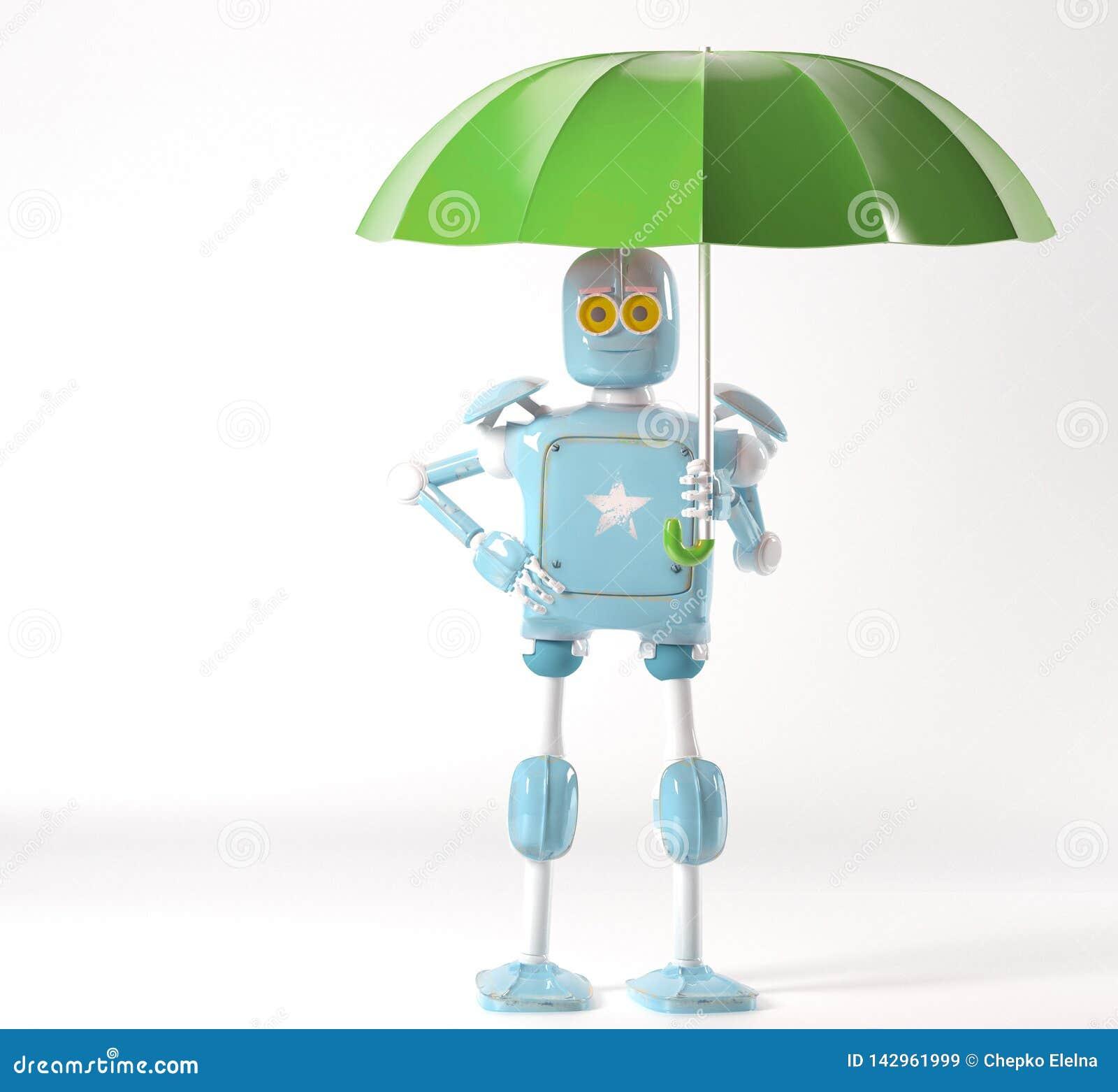 Retro robot met 3d paraplu, geeft terug