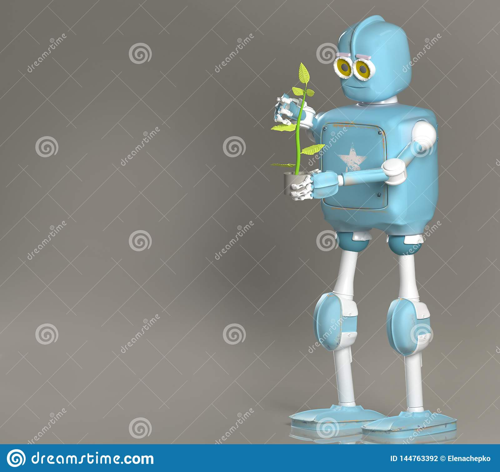 Retro robothållväxt, droid med grodden, 3d att framföra