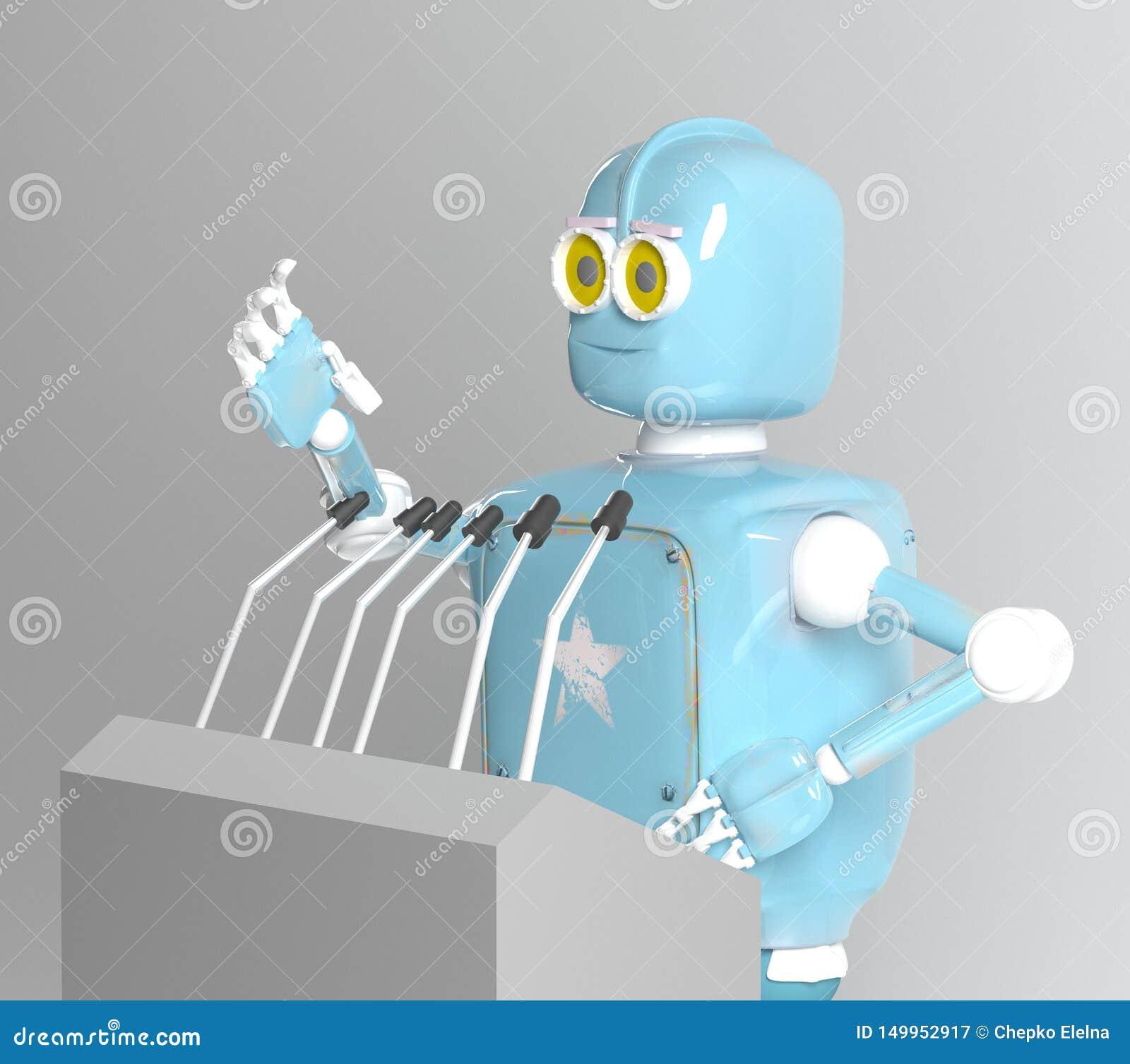 Retro robotwoordvoerder, 3d spreker, geeft terug