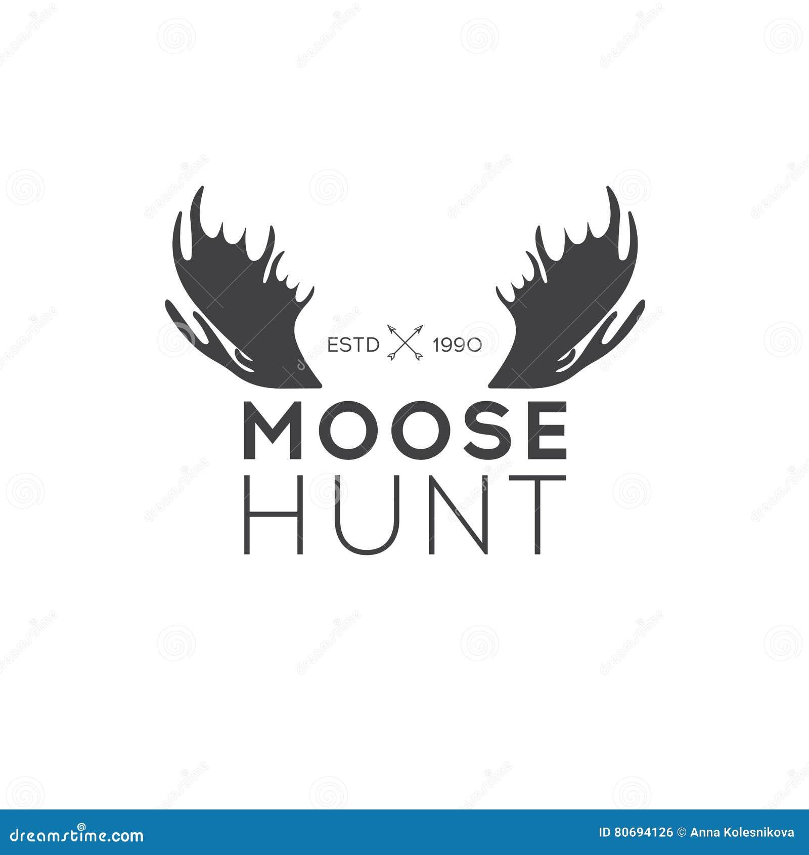 Retro rocznika logotypu lub insygni projekta Wektorowy element, biznesu szyldowy szablon Jeleni polowanie Tropić dla łosia Łosia