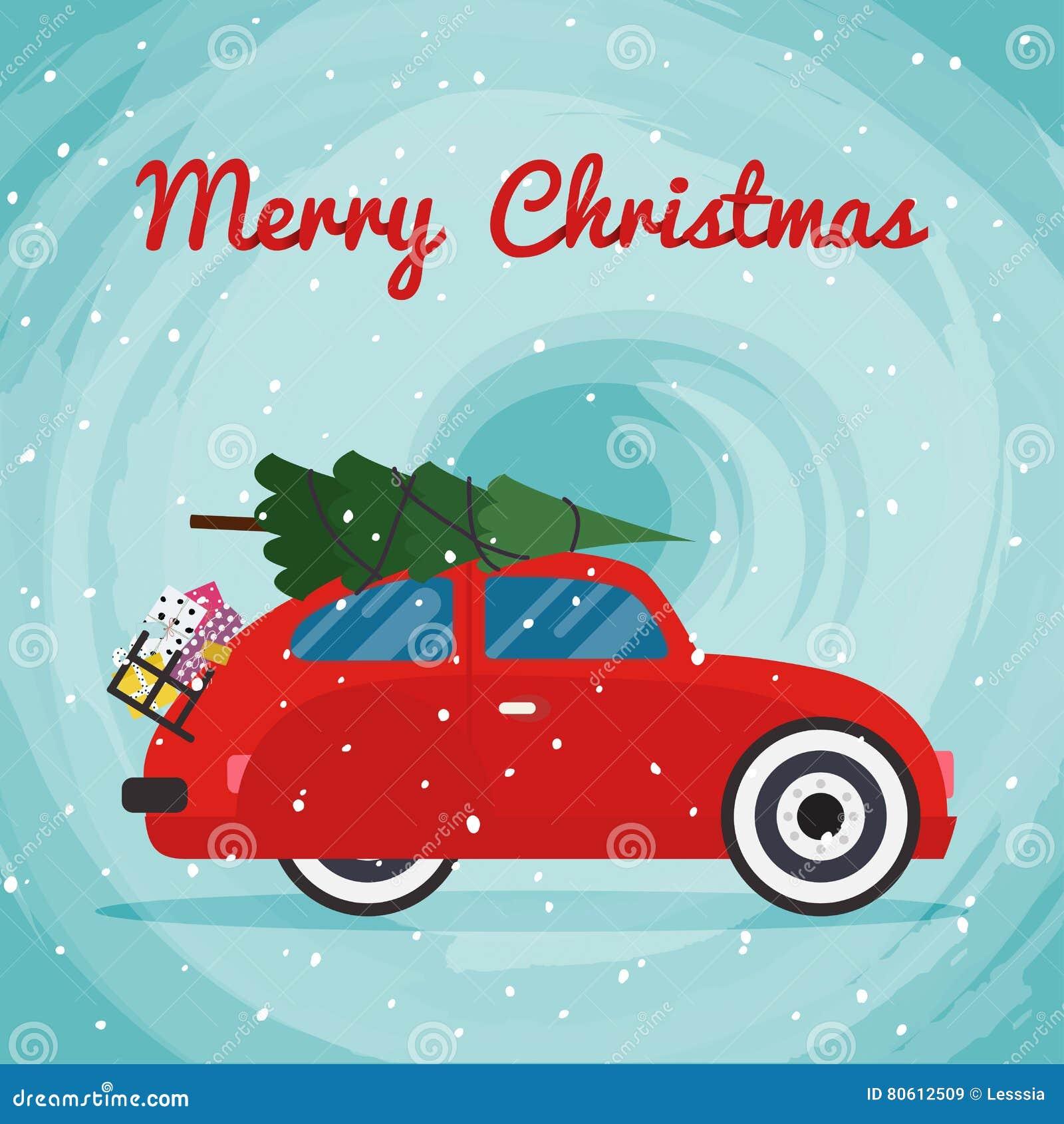 retro rotes auto mit weihnachtsbaum auf dem dach vektor. Black Bedroom Furniture Sets. Home Design Ideas
