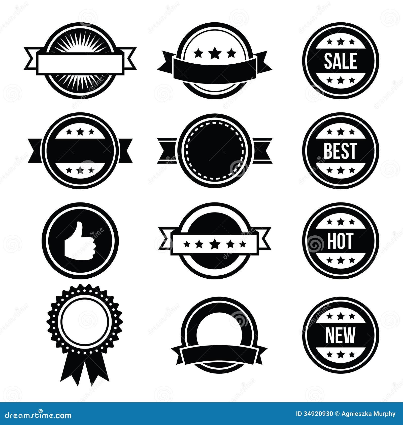Retro Round Badges , Vintage Labels Set