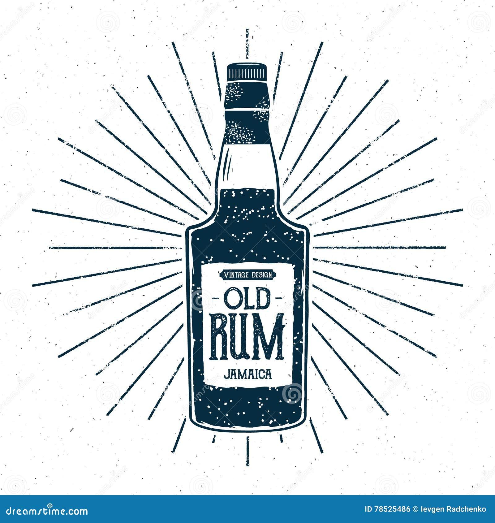 Retro Rum Bottle Label Design Vintage Alcohol Badge Typography