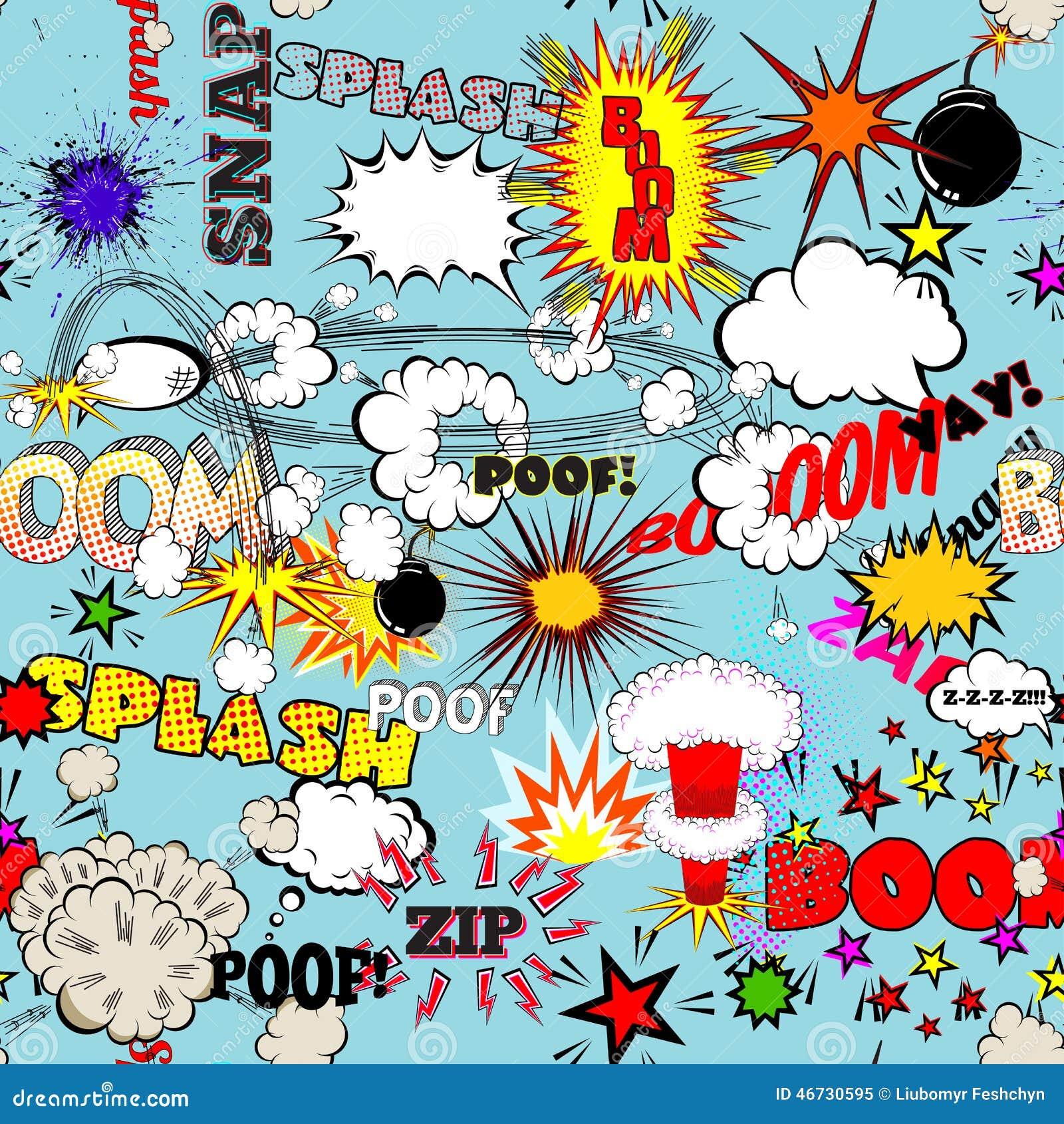 Retro sömlös modell för vektor med komiska anförandebubblor, etiketter, logoer och humorbokord