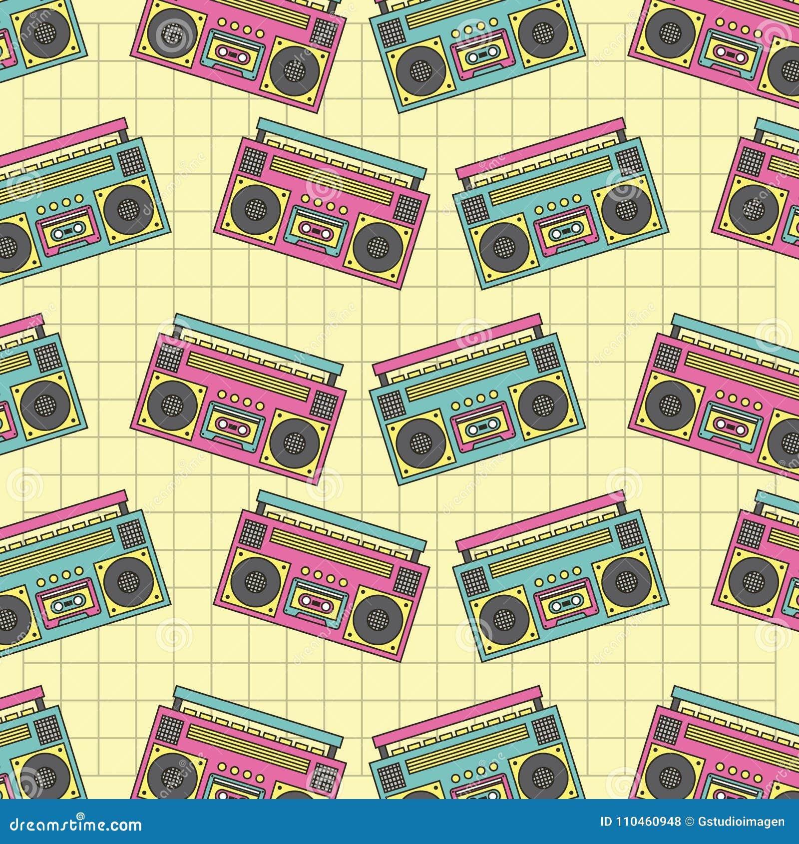 Retro sömlös musik för apparat för modellbandspelare90-tal