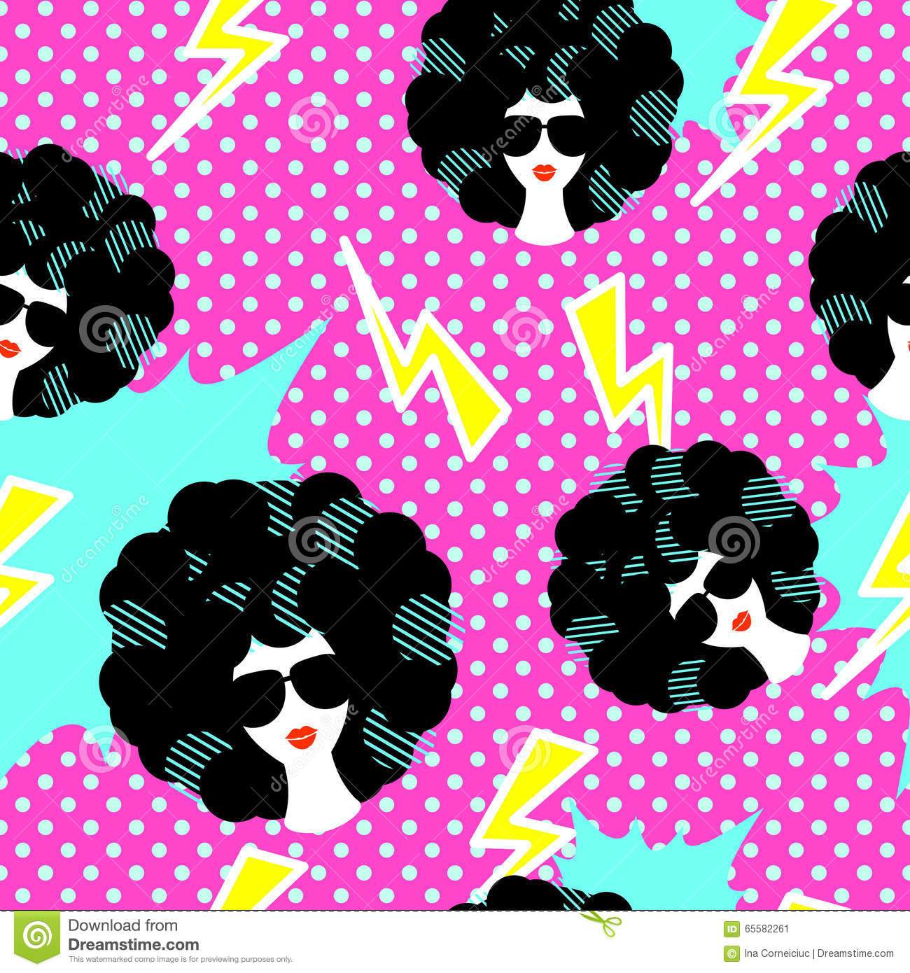 Retro 80s Disco Party Seamless Pattern Stock Vector - Image: 65582261