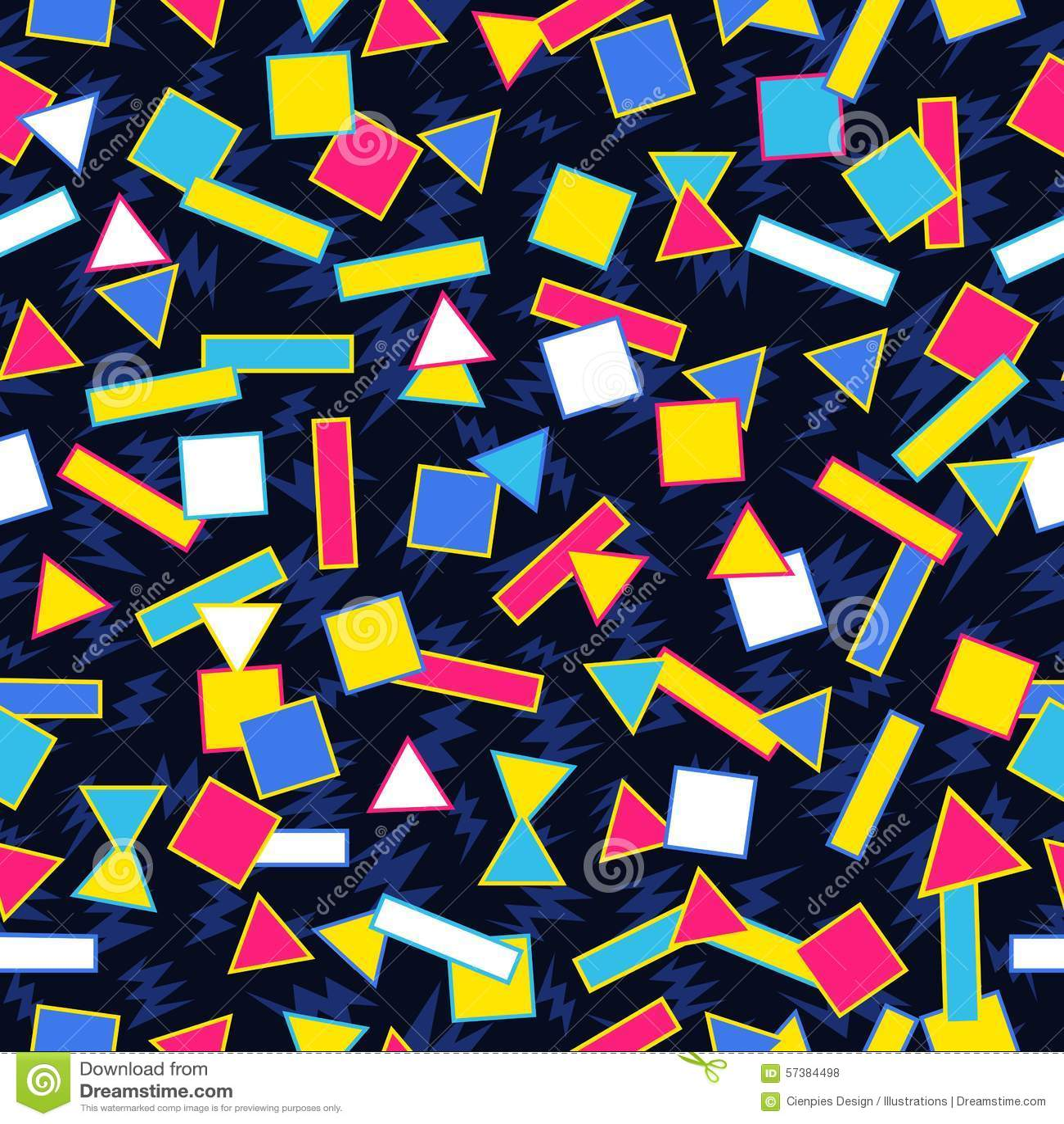 Retro 80s Geometric Pattern Background Stock Vector