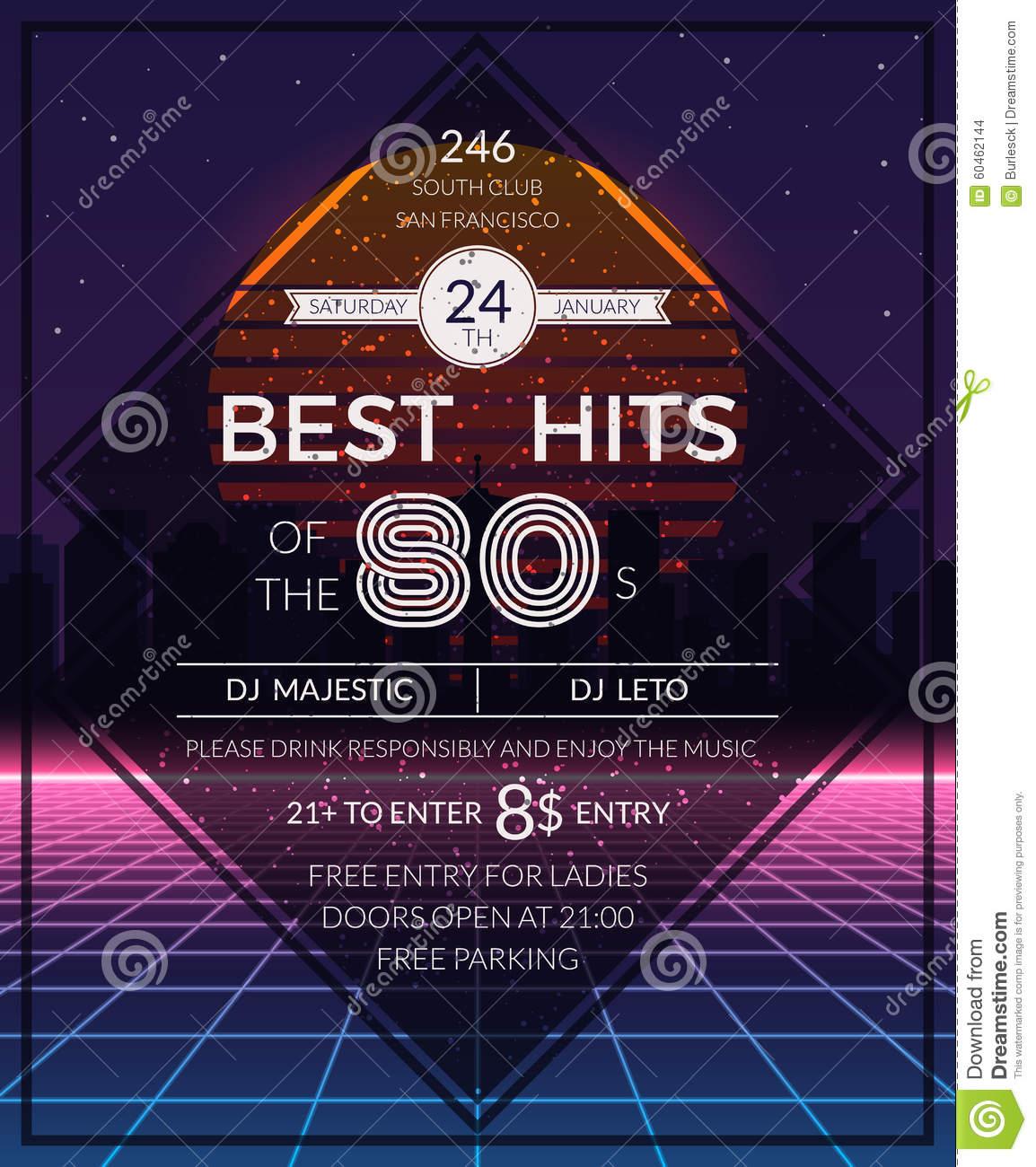 80s poster design - Retro 80s Hits Party Poster Stock Vector