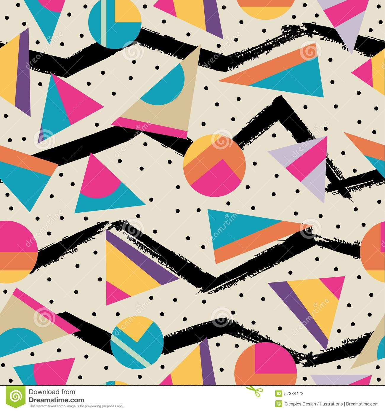Retro 80s Seamless Pattern Background Stock Vector Image