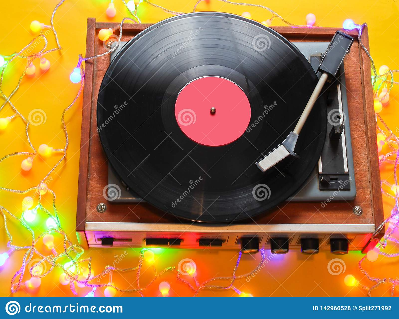 Retro 80s vinyl player
