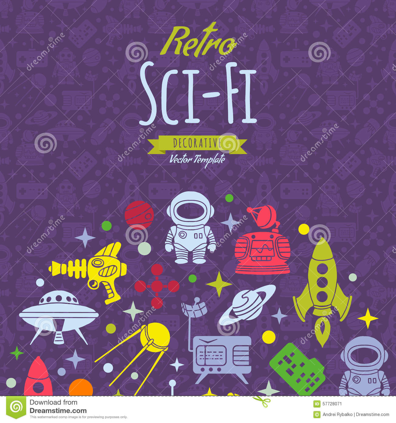 Retro sci fi vector decorating design vector illustration for Sci fi decor