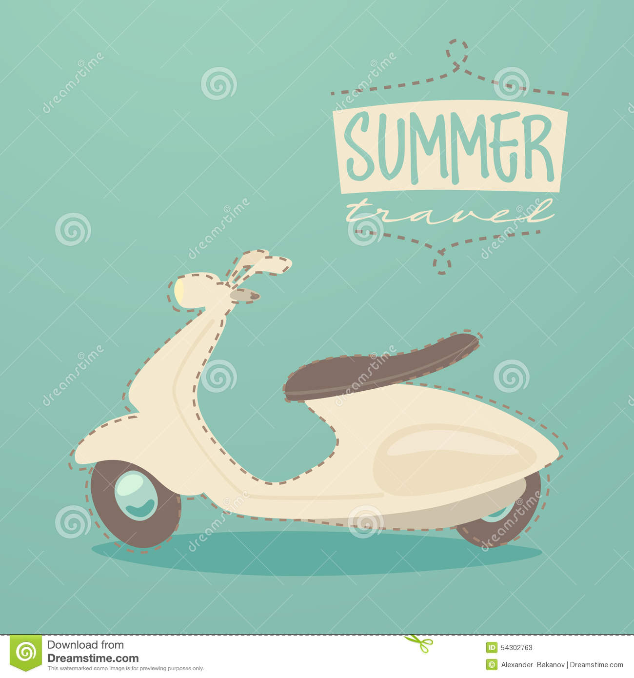Retro Scooter Summer Travel Vintage Scooter Poster Illustration Stock Illustration Illustration Of Land Animated 54302763