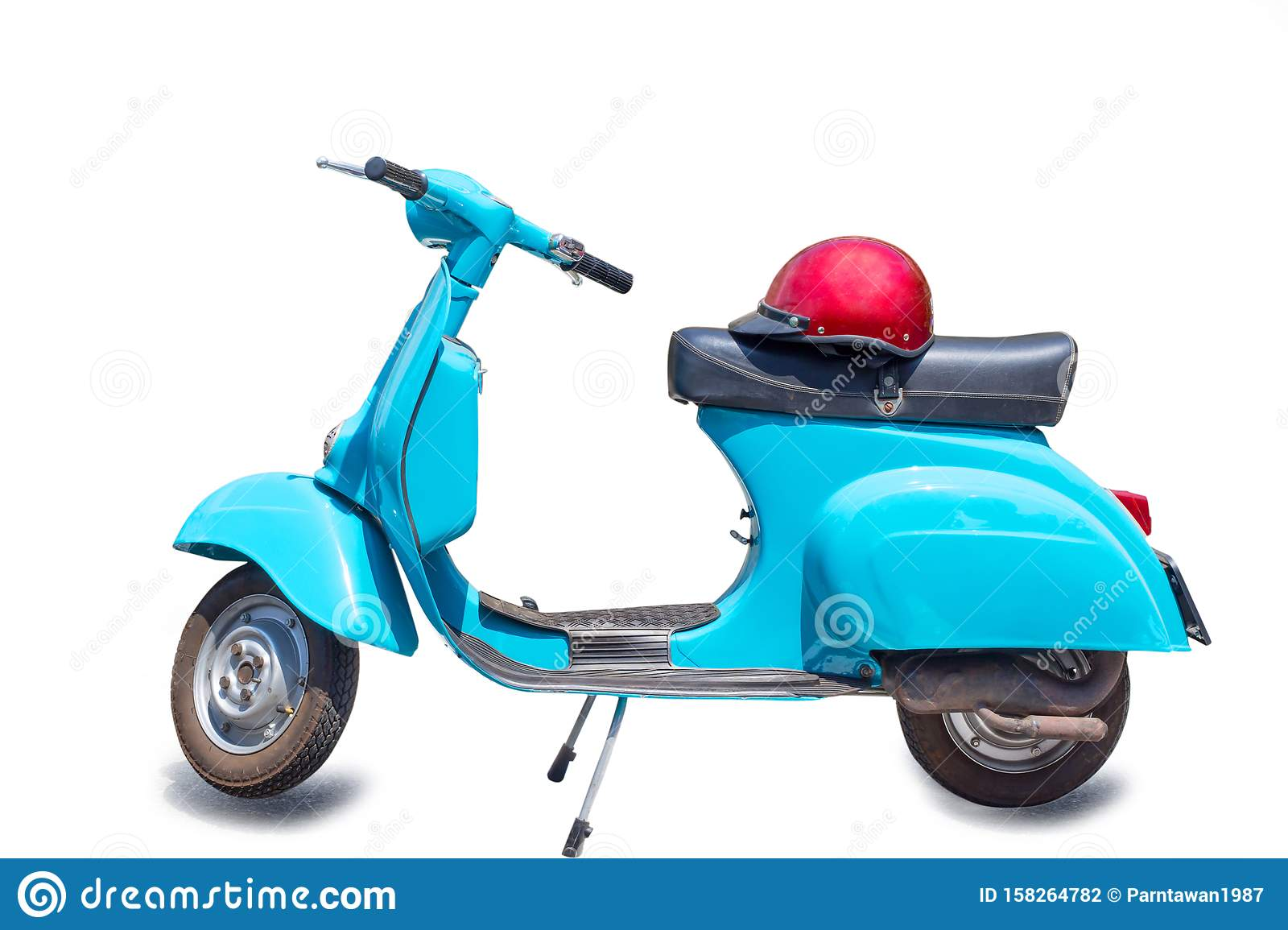 Retro Scooter Vintage Scooter Retro Motorcycle With Red Helmet Isolated On White Background With Clipping Path Stock Photo Image Of Speed Accessories 158264782