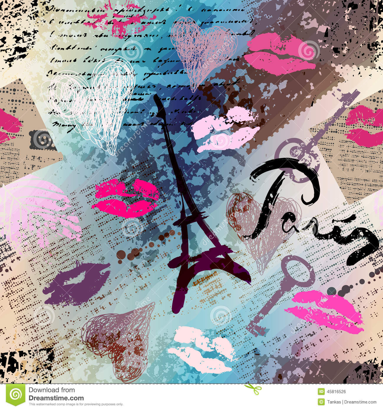 retro scrapbook collage paris stock vector image 45816526