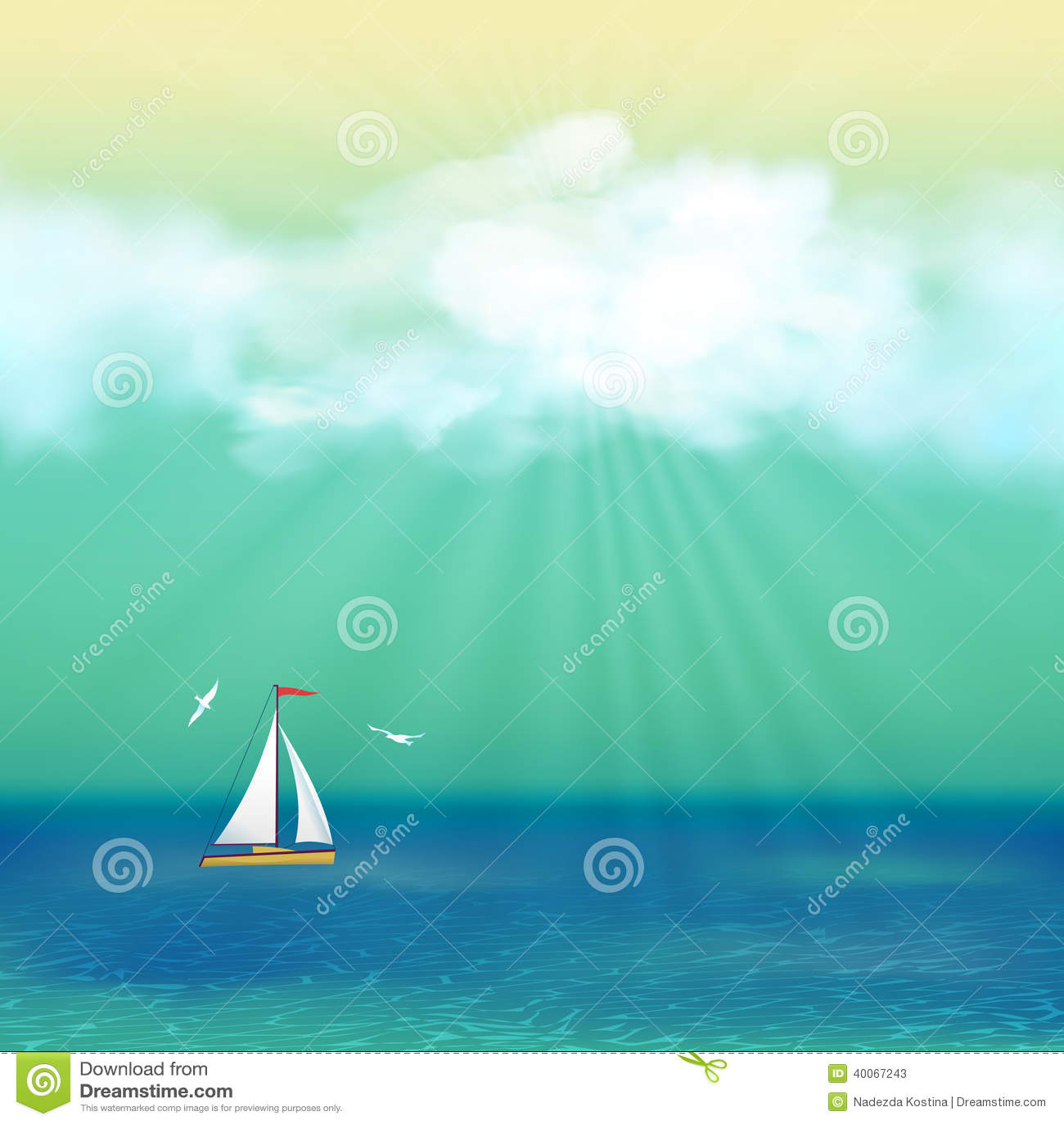 Poster design landscape - Azure Blue Cloud Day Design Gull Landscape Poster