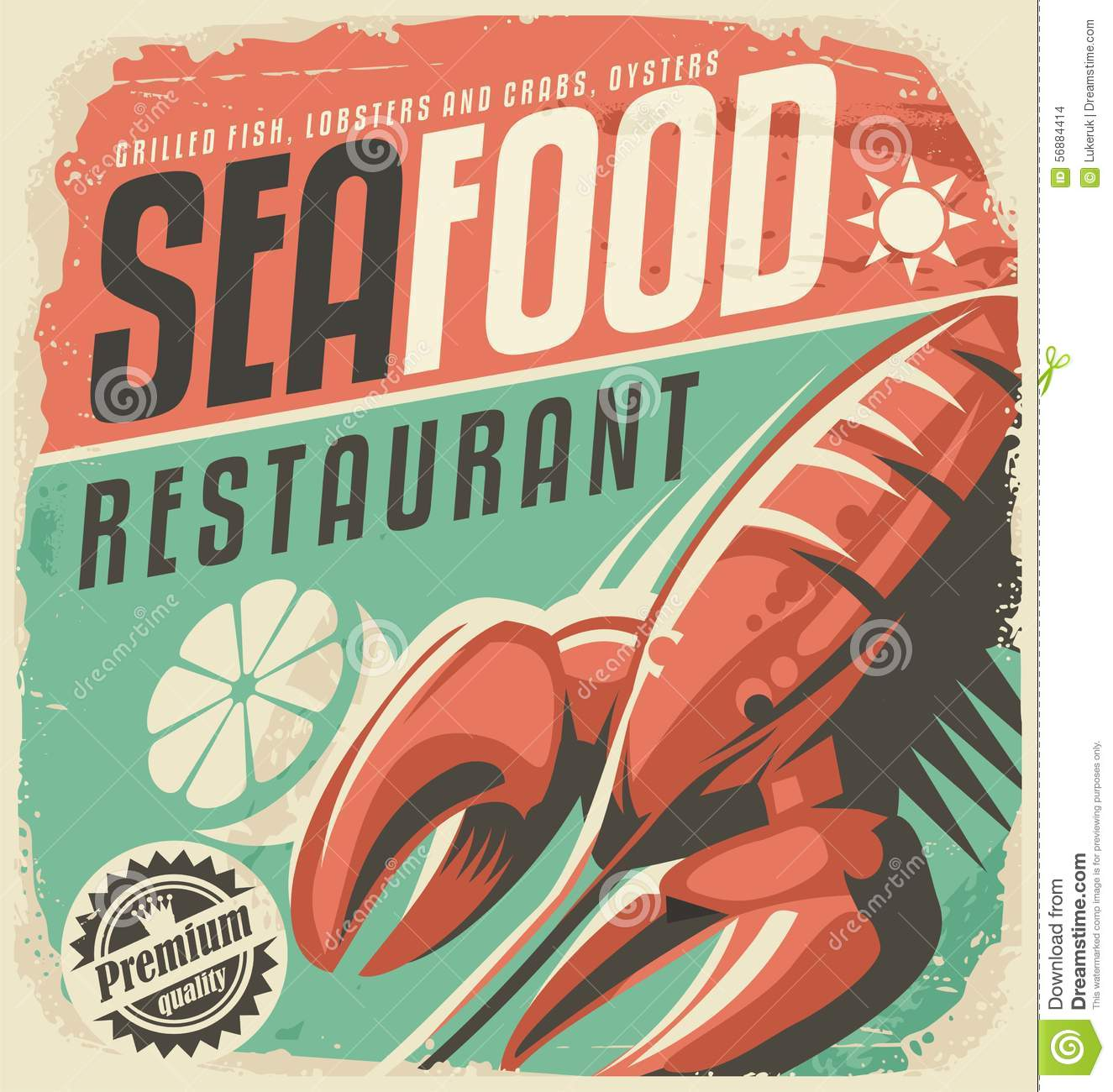 Retro Seafood Restaurant Poster With Lobster Stock Vector - Image: 56884414