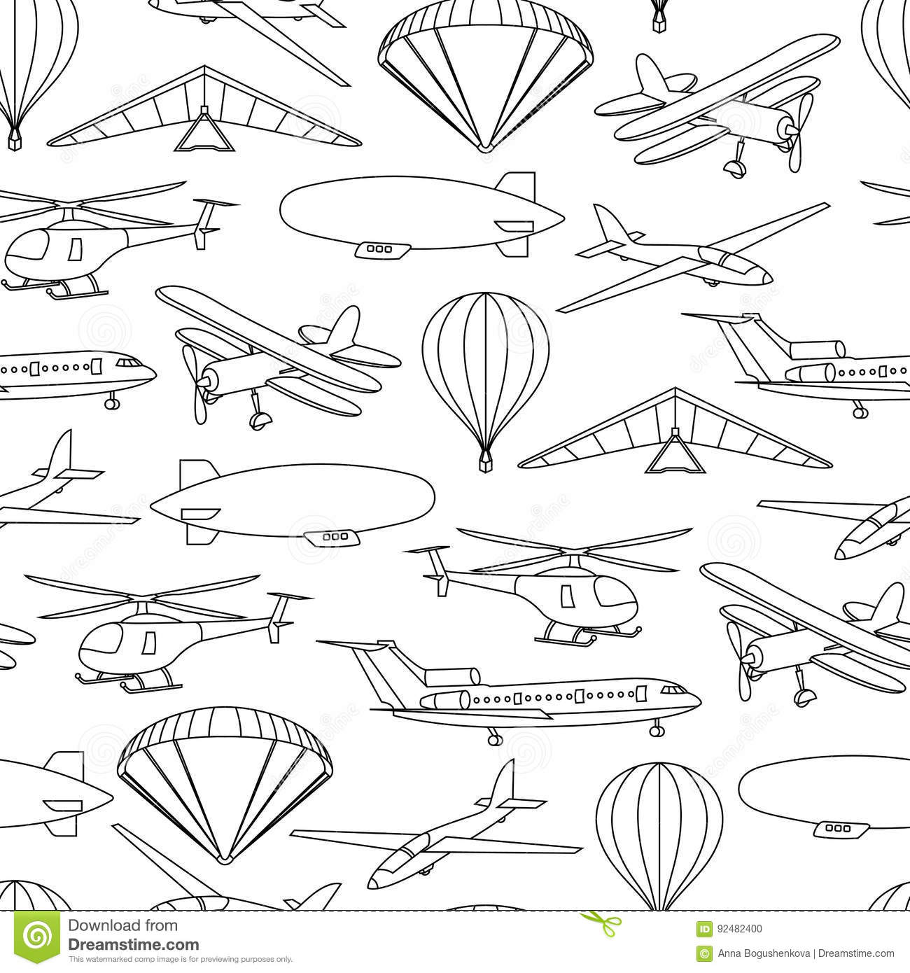 Retro seamless travel pattern of balloons and aircraft
