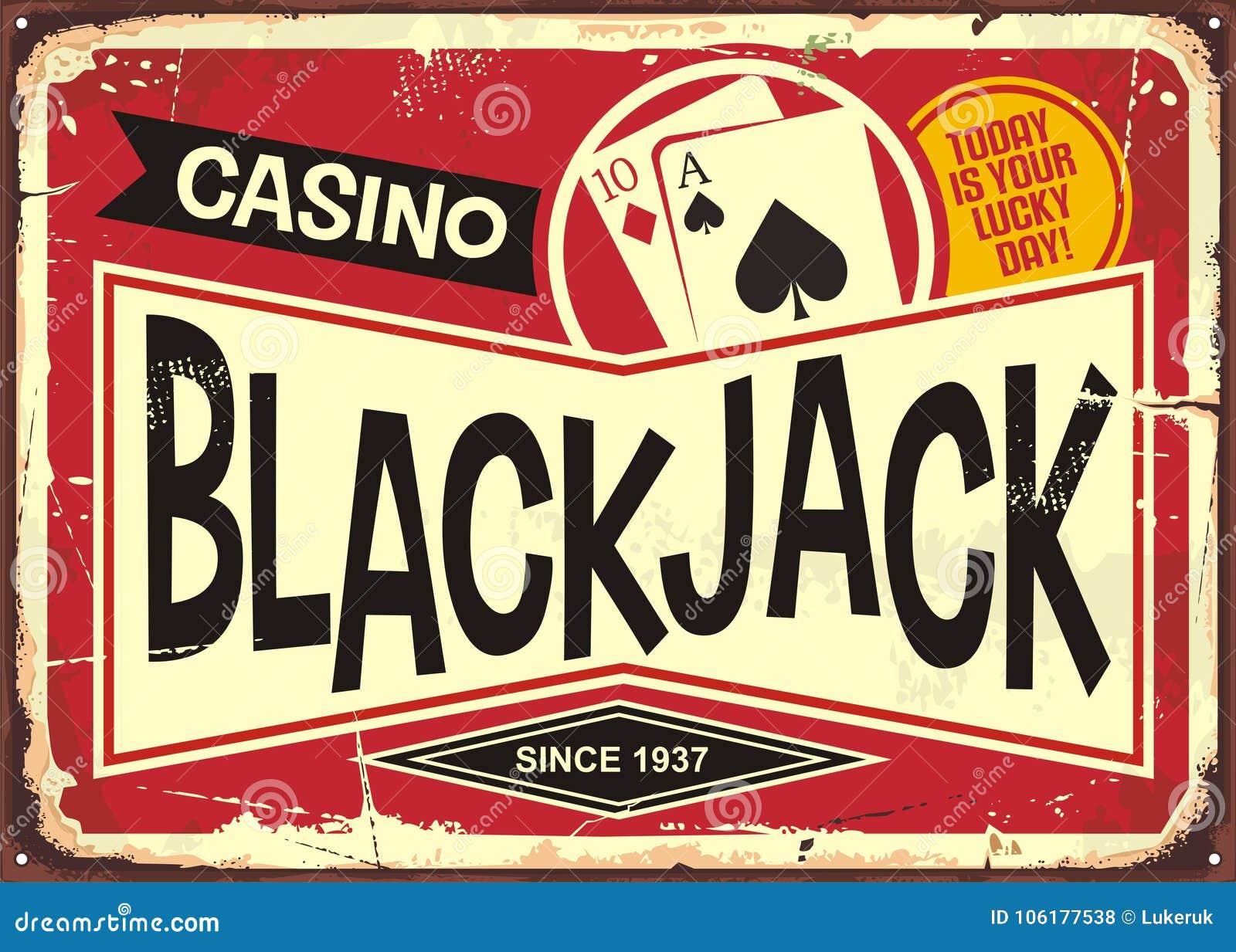 Retro segno del casinò del black jack