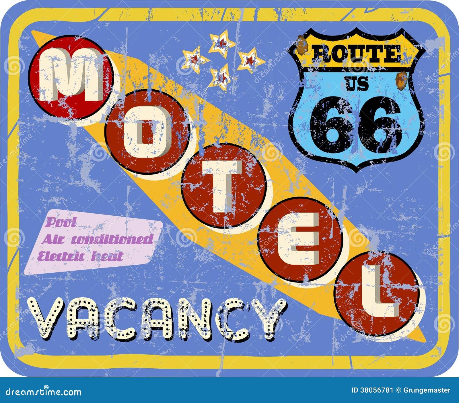 Retro segno del motel,