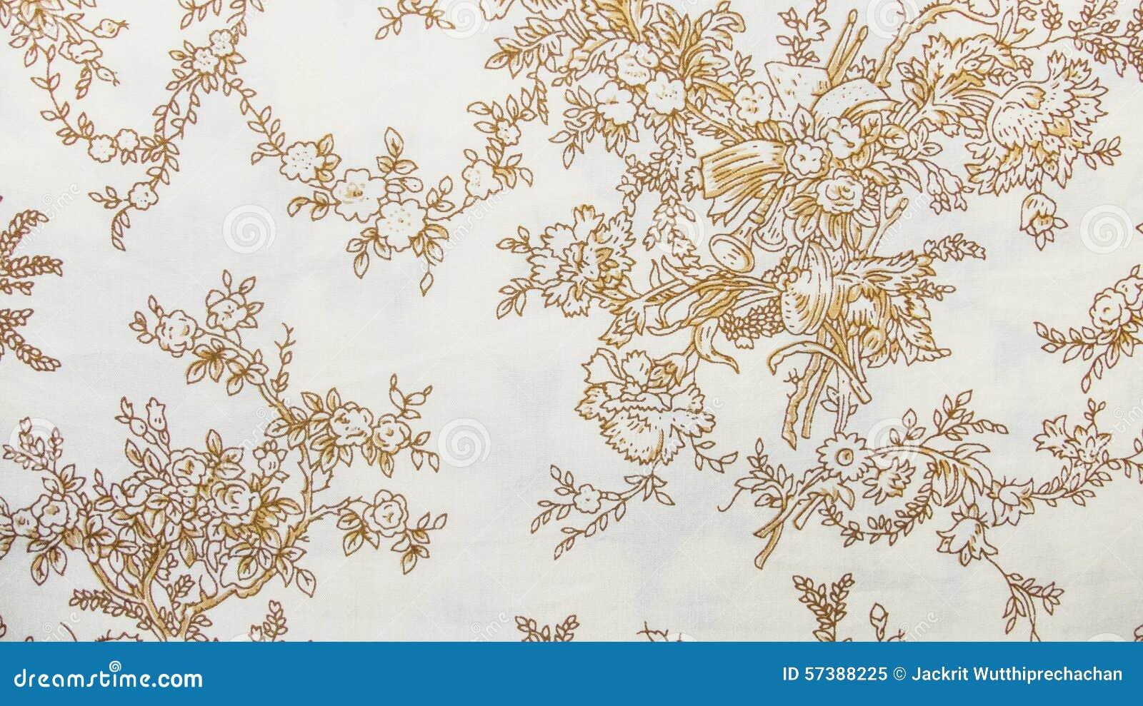 Retro Sepia van het Kant Bloemen Naadloze Patroon Bruine Stoffen Uitstekende Stijl Als achtergrond