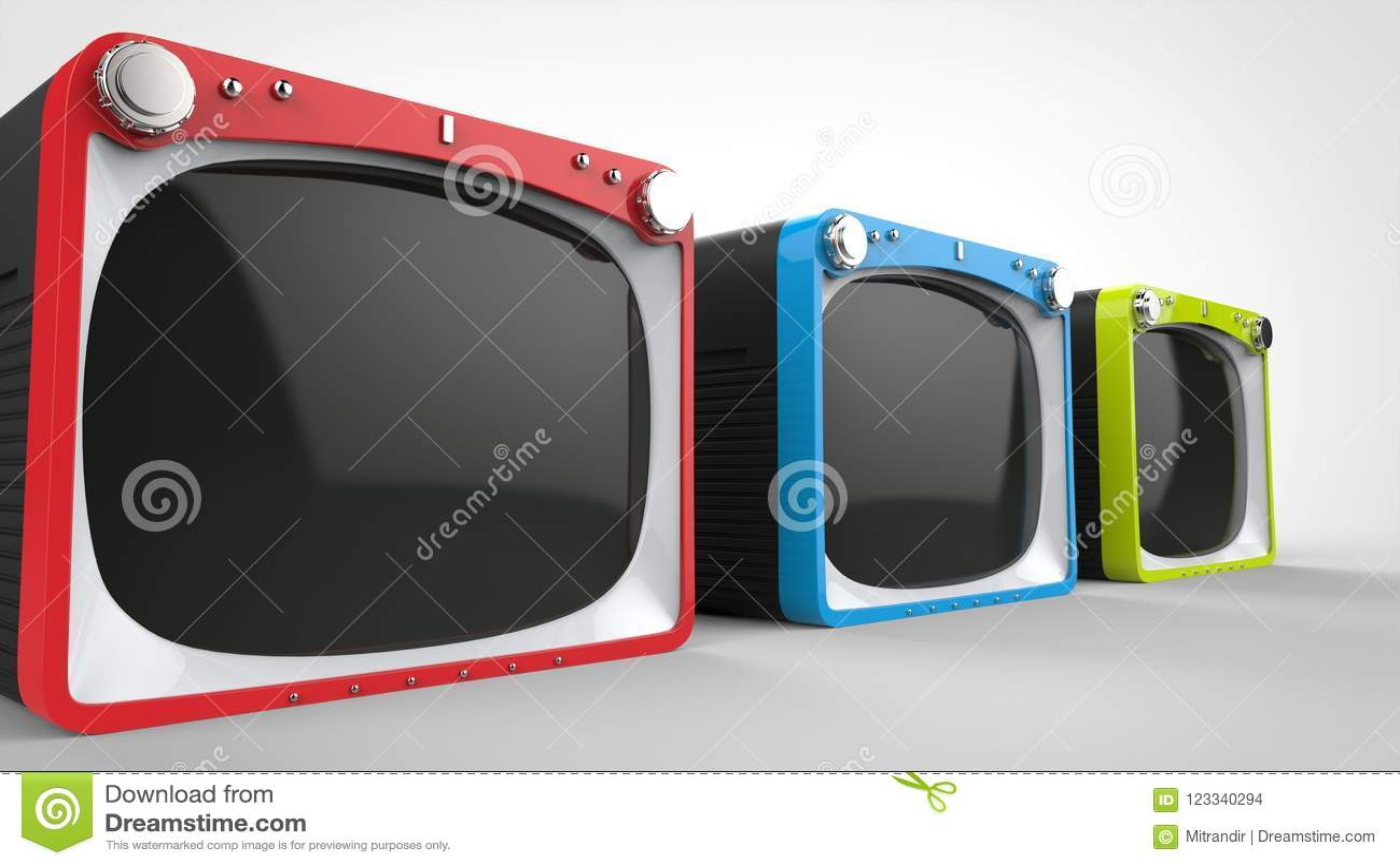 Retro set televisivi neri con le parti anteriori rosse, blu e verdi