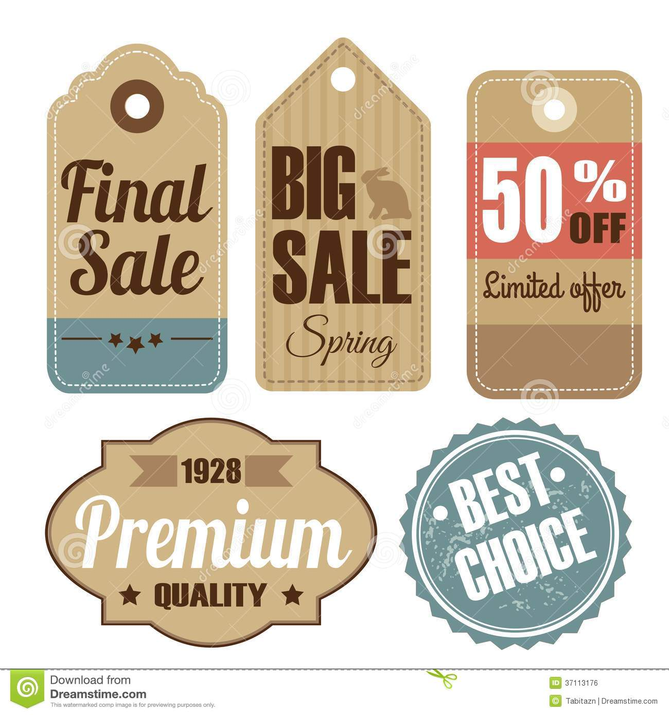 Retro Set Of Vintage Sale And Quality Labels, Card Royalty Free Stock ...