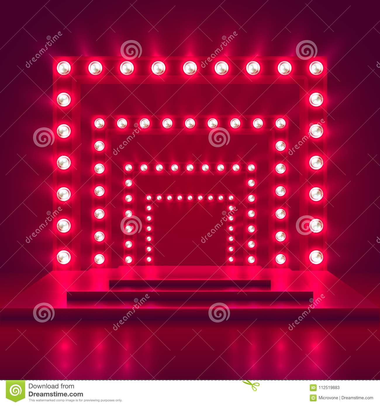 Retro Show Stage With Light Frame Decoration. Game Winner Casino ...