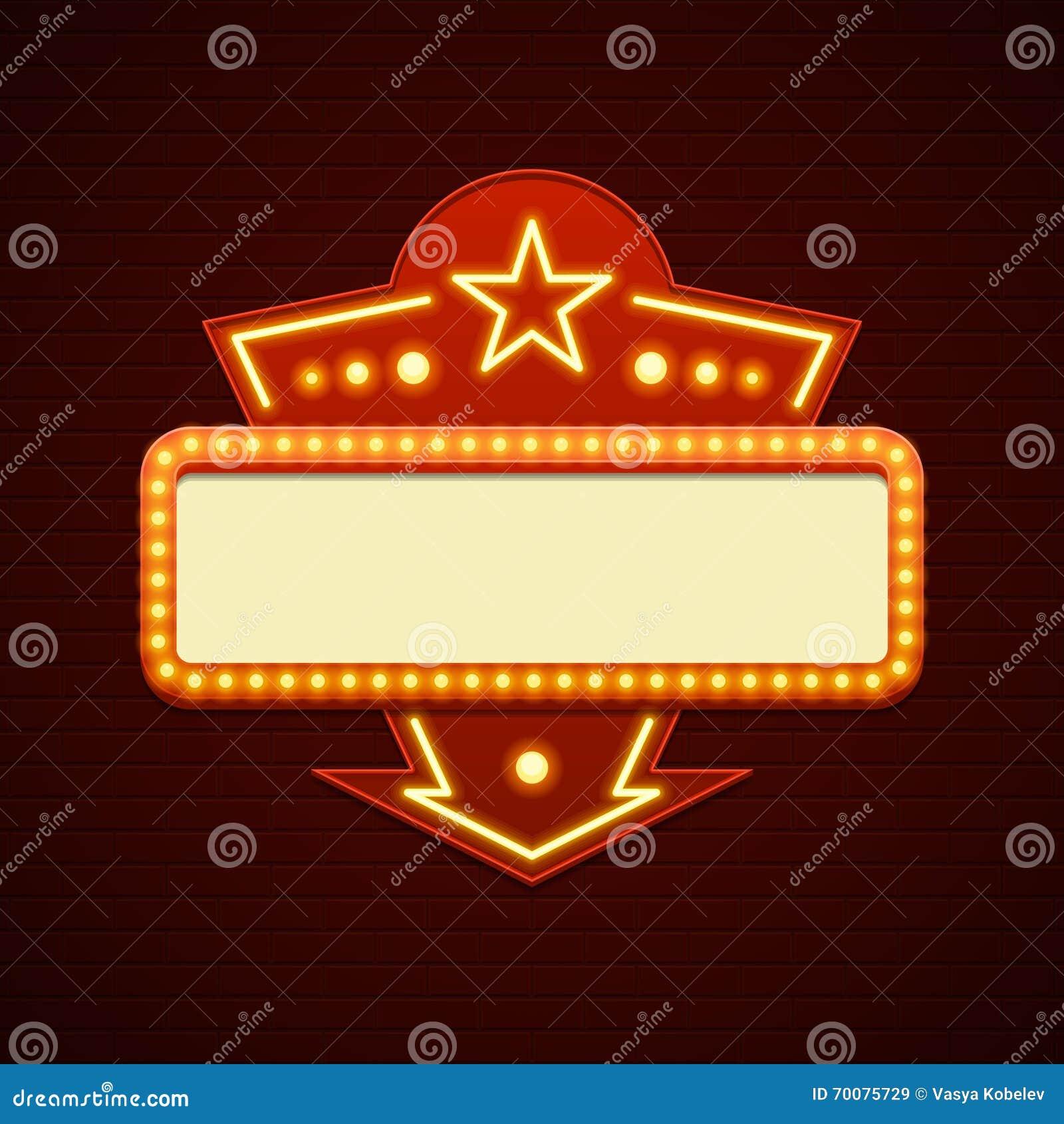 Retro Showtime Sign Design Cinema Signage Light Bulbs