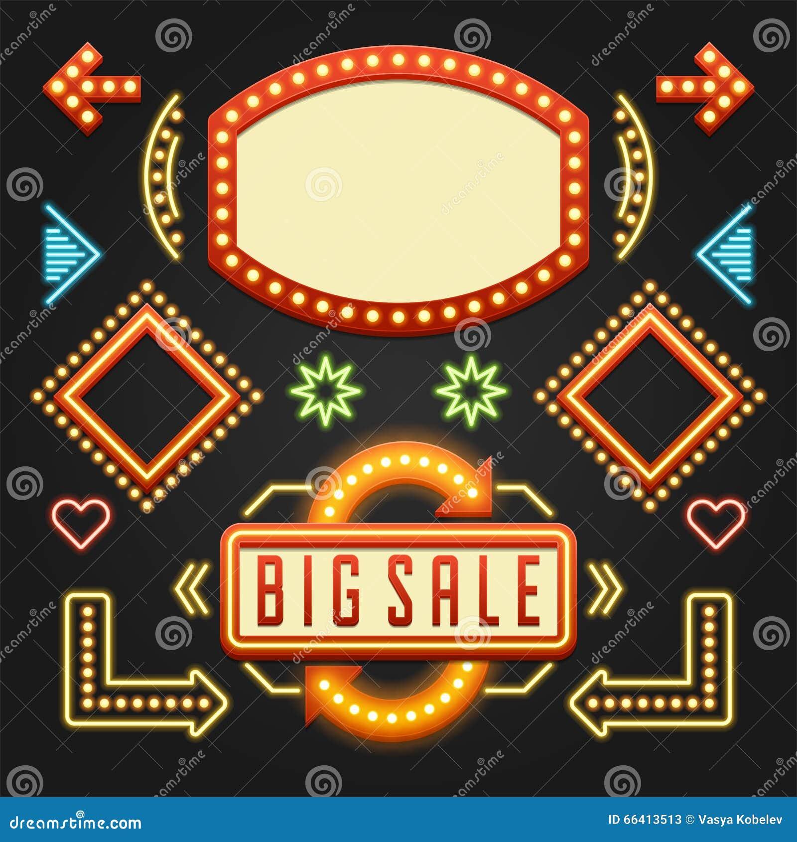Retro showtime signs design elements set stock vector image 66413513 - Showtime design ...