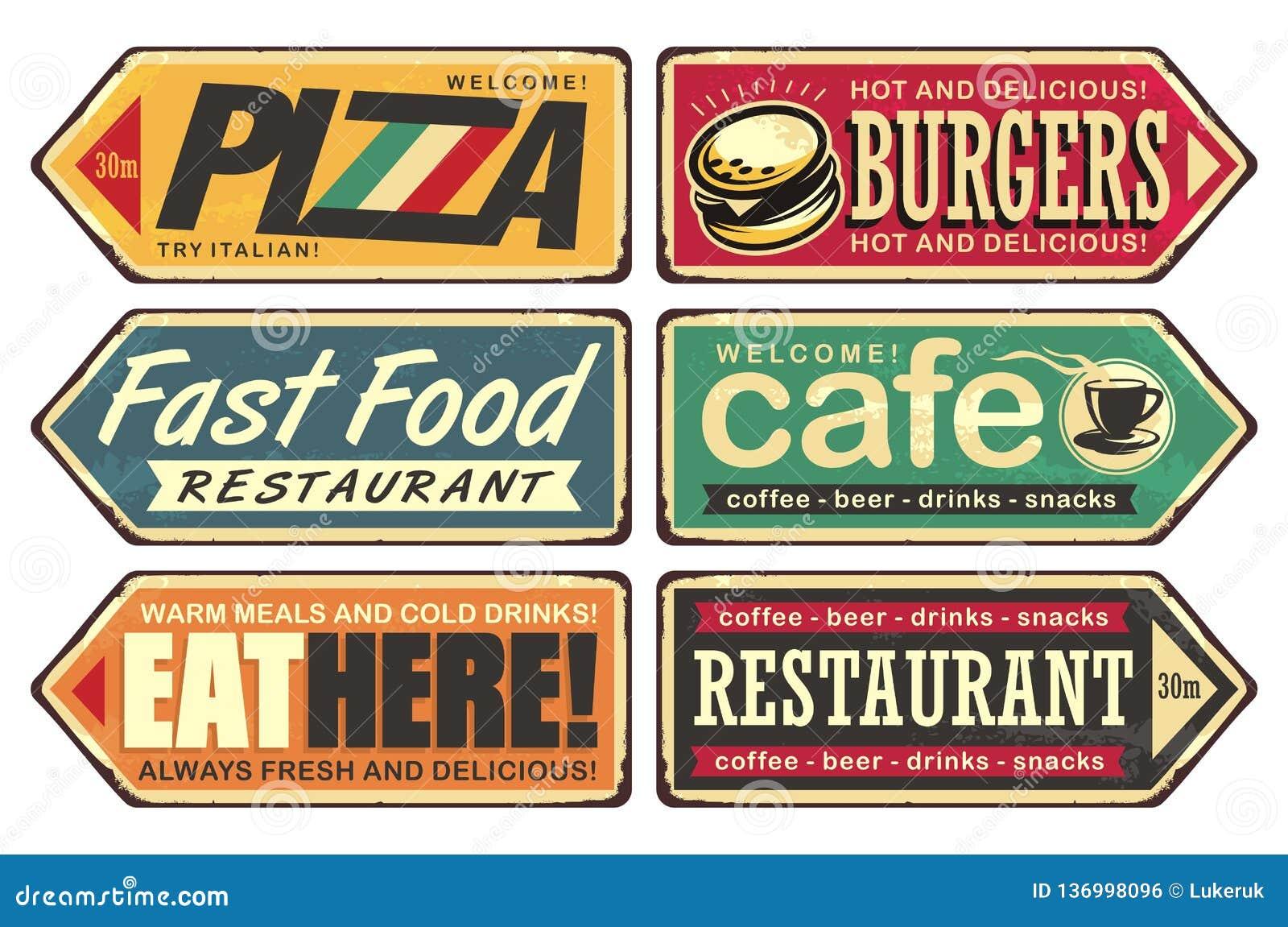 Vintage Sign Posts Set For Cafe Pizza Burger And Fast Food Restaurant Stock Vector Illustration Of Italian Logo 136998096