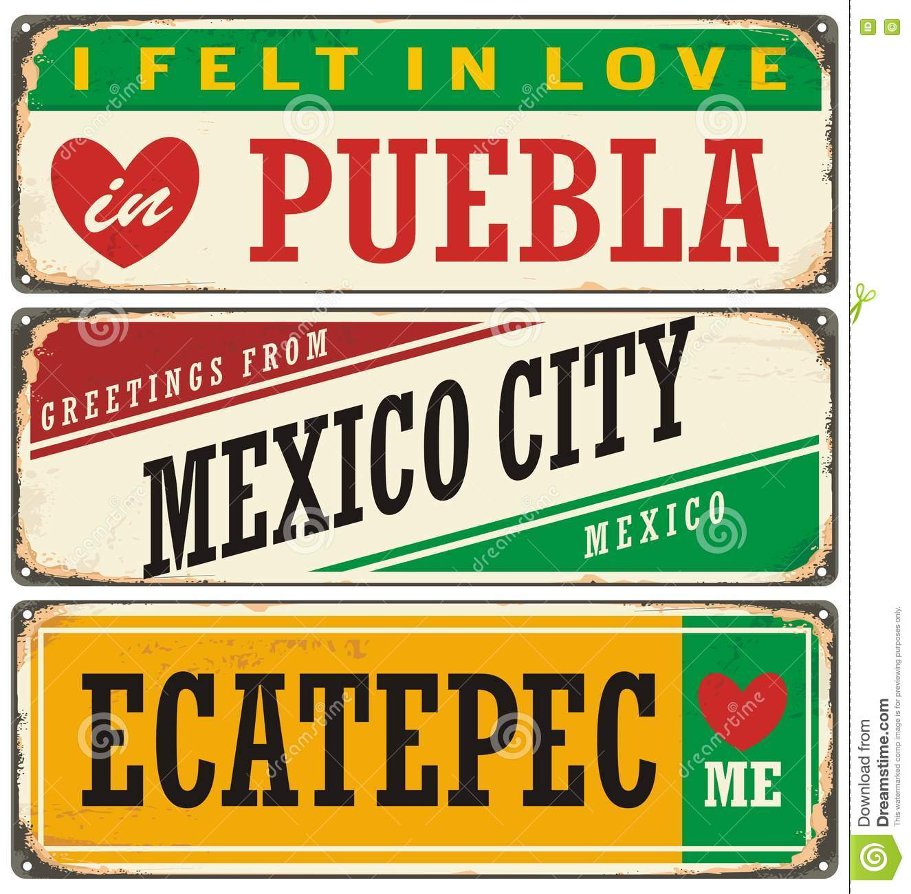 Retro Signs Set With Cities In Mexico Stock Vector Illustration
