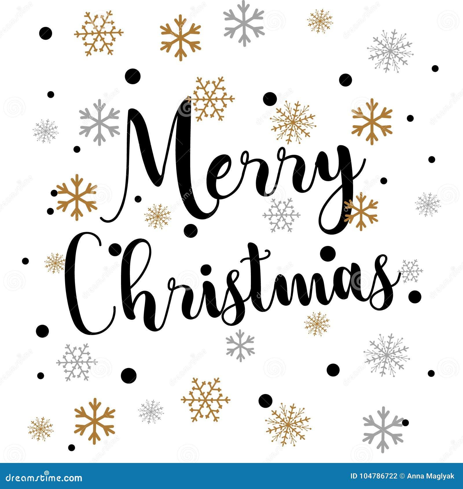 Retro Simple Christmas Card With Golden Snowflakes On White Stock ...