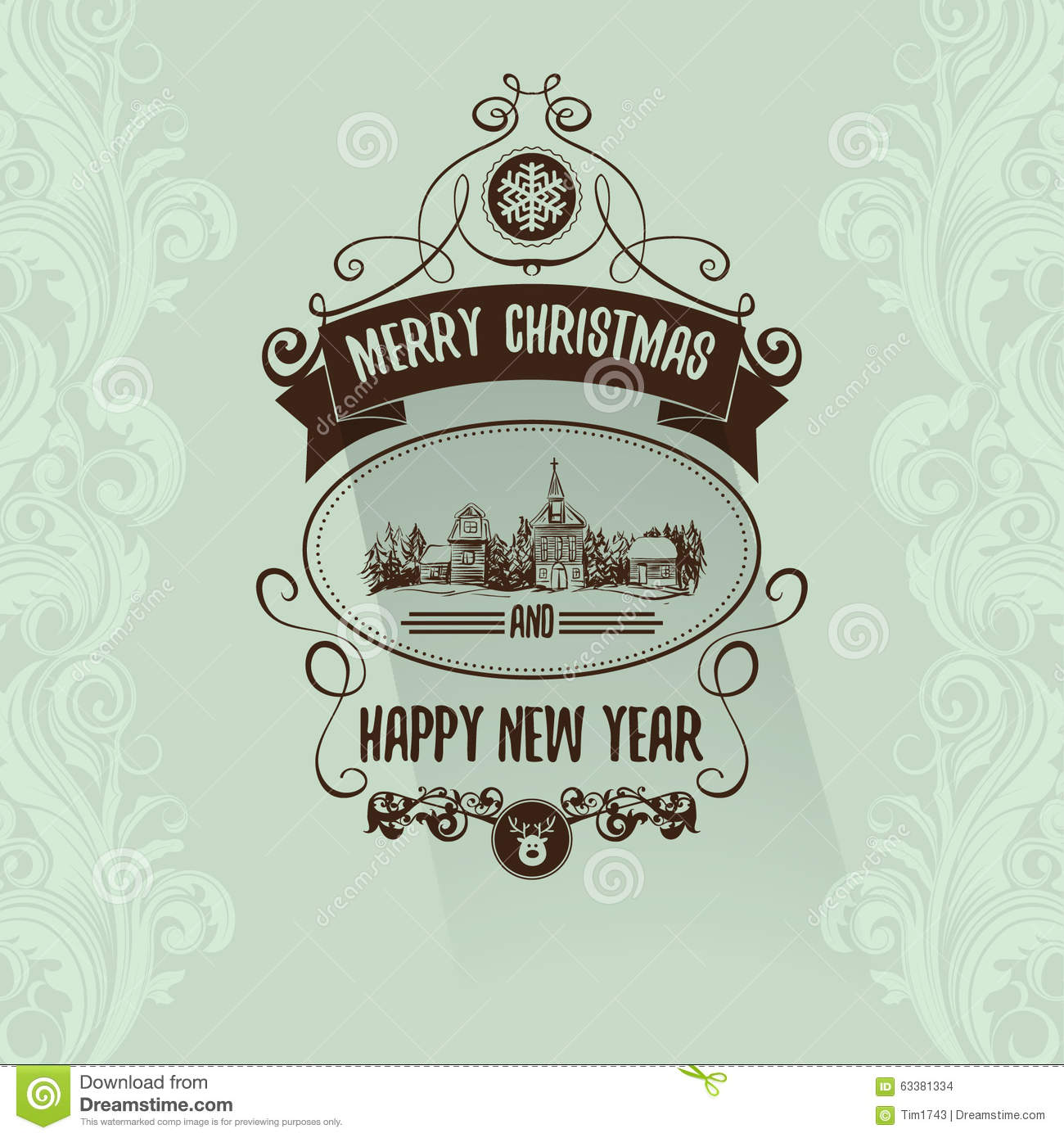 Retro Simple Vintage Merry Christmas Greeting Card With Happy New